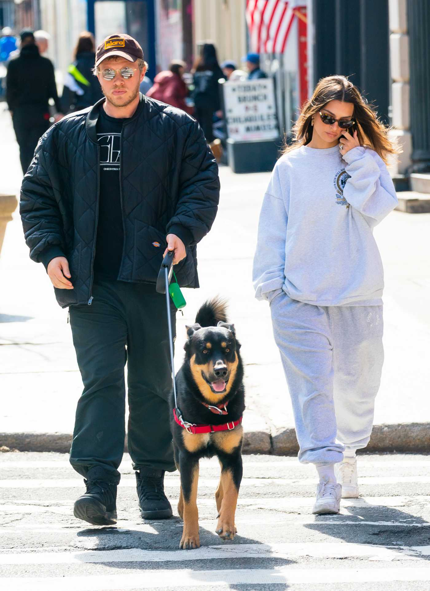 Emily Ratajkowski in a Gray Sweatsuit Walks Her Dog Colombo Out with Sebastian Bear-McClard in New York City 03/16/2020