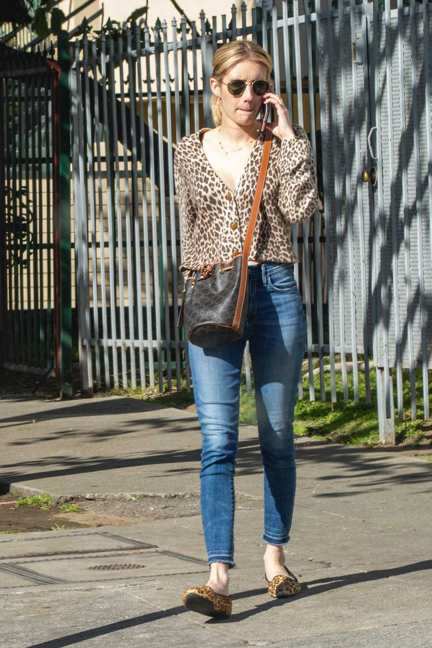 Emma Roberts in an Animal Print Blouse Was Seen Oot with Kristen Stewart in Los Feliz 03/03/2020