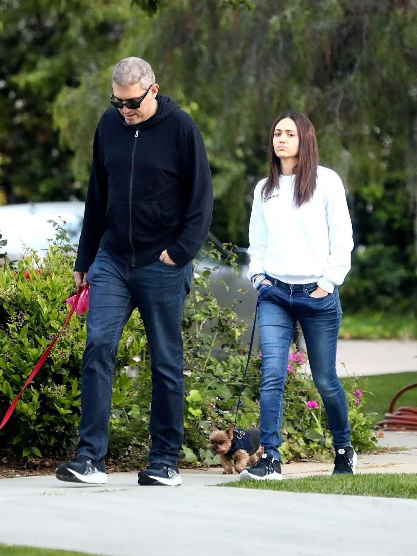 Emmy Rossum in a Black Sneakers Was Seen Out with Sam Esmail in Beverly Hills 03/30/2020