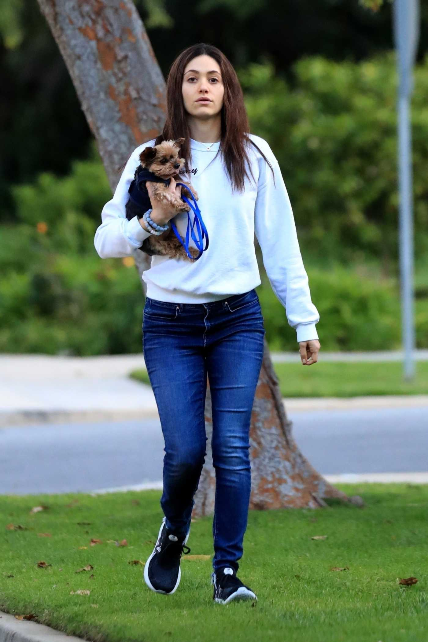 Emmy Rossum in a White Sweatshirt Was Seen Out in Beverly Hills 03/30/2020