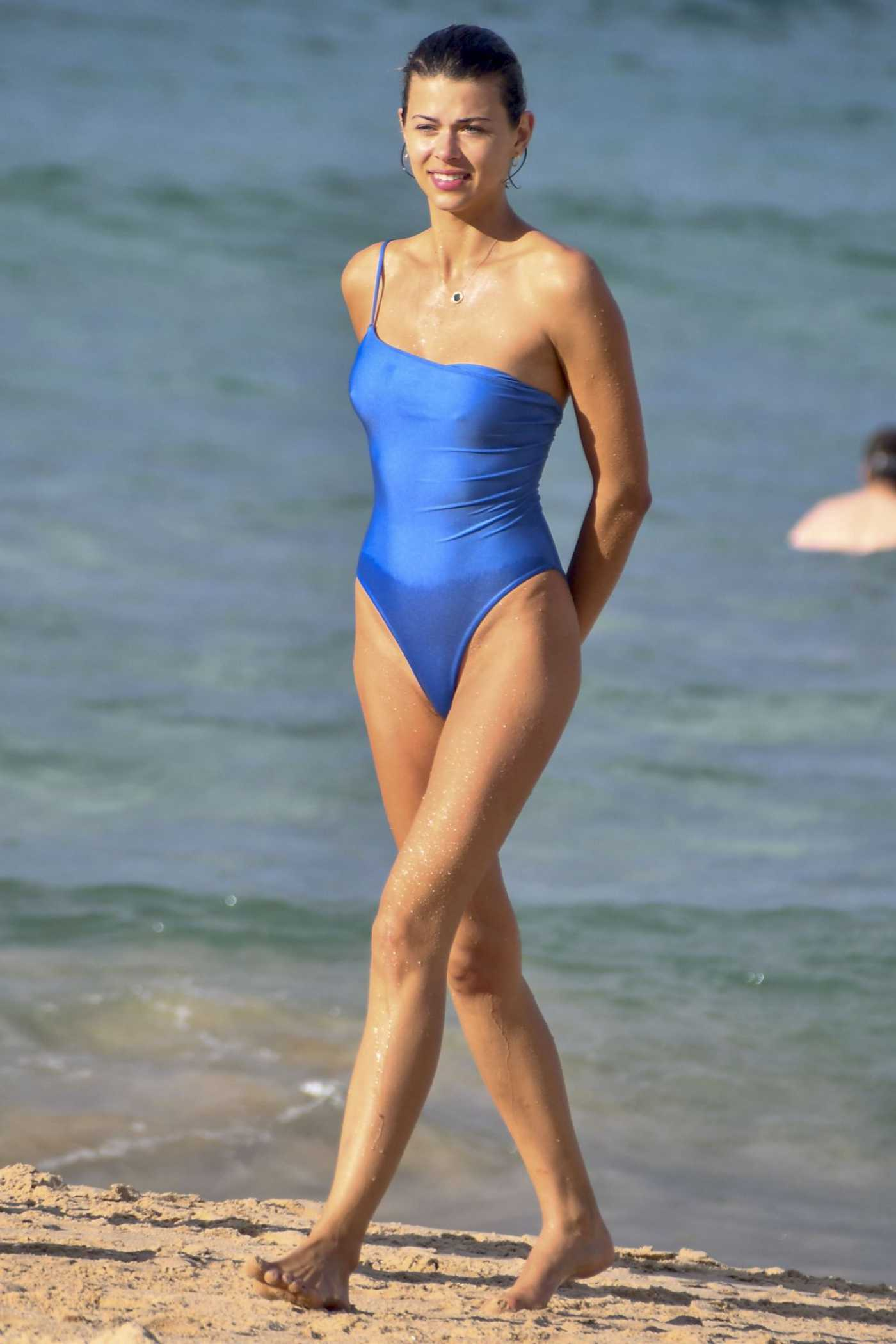 Georgia Fowler in a Blue Swimsuit on the Beach in Sydney 03/21/2020