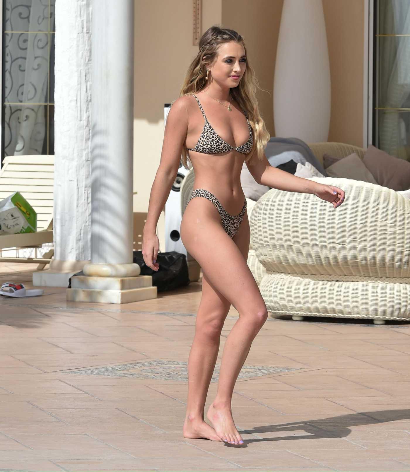 Georgia Harrison in a Leopard Print Bikini by the Pool at Her Hotel in Tenerife 03/02/2020