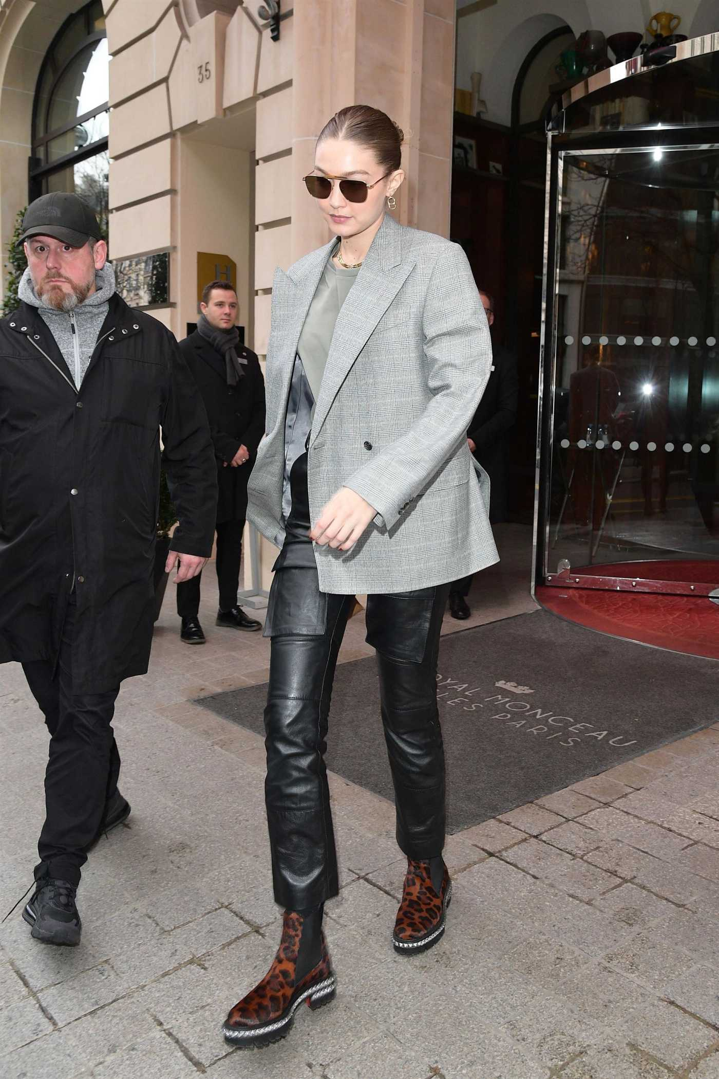 Gigi Hadid in a Gray Blazer Leaves the Le Royal Monceau Hotel in Paris 03/02/2020