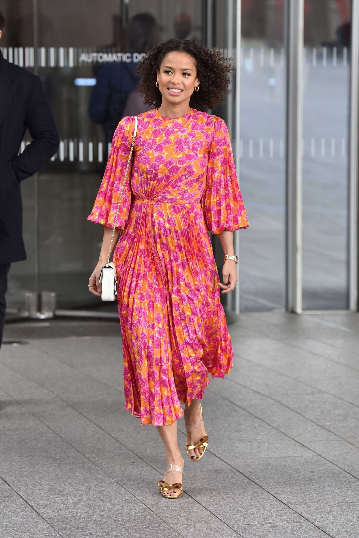 Gugu Mbatha-Raw in a Red Floral Dress Leaves the Chris Evans Show in London 03/06/2020