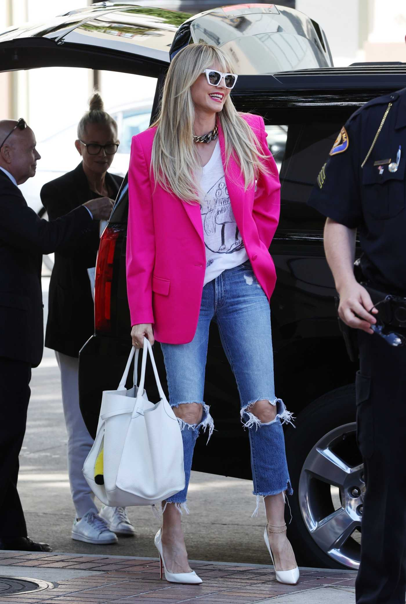 Heidi Klum in a Pink Blazer Arrives at America's Got Talent in Pasadena 03/08/2020