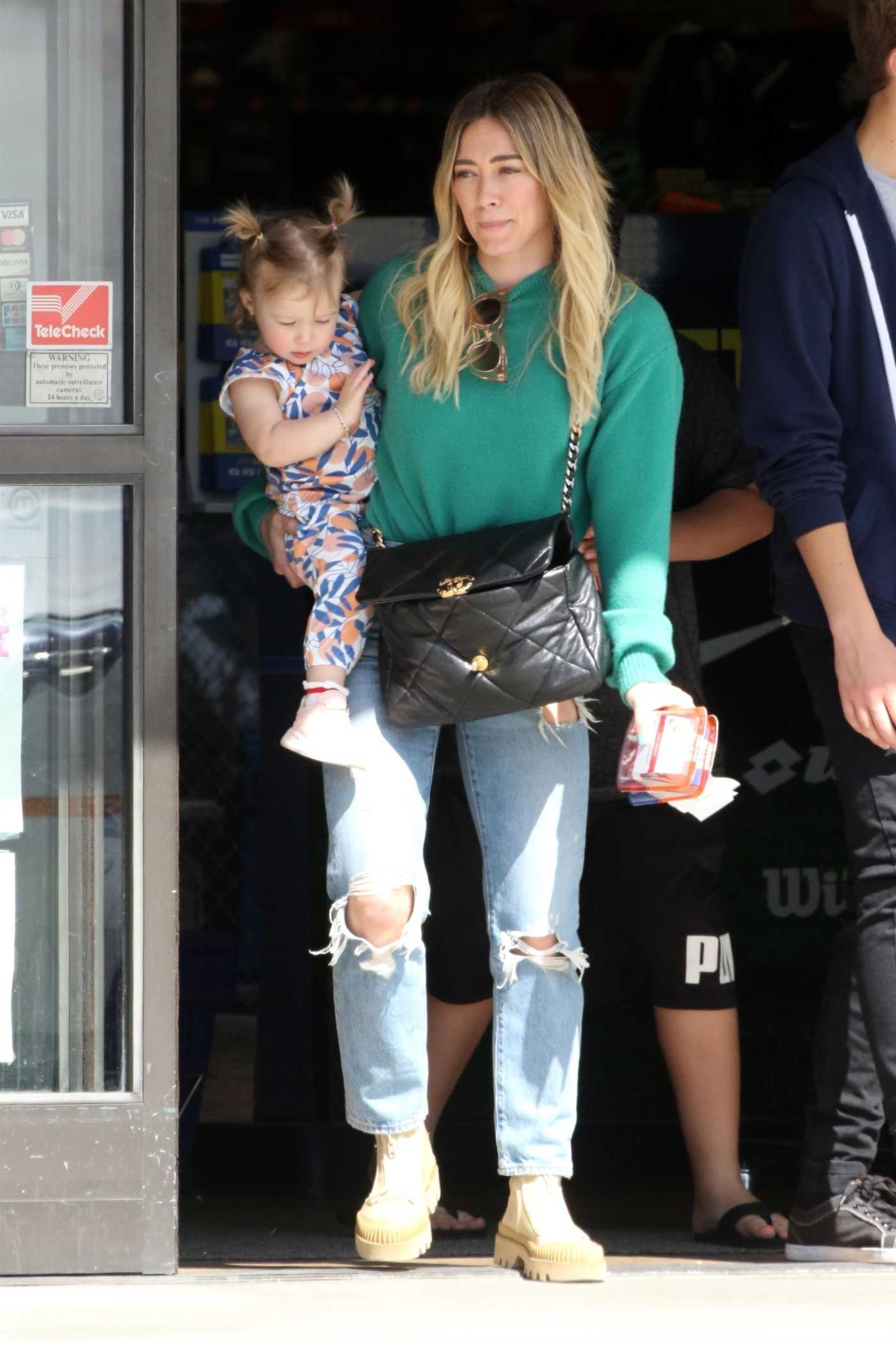 Hilary Duff in a Blue Ripped Jeans Was Seen Out with Her Doughter in Studio City 03/07/2020