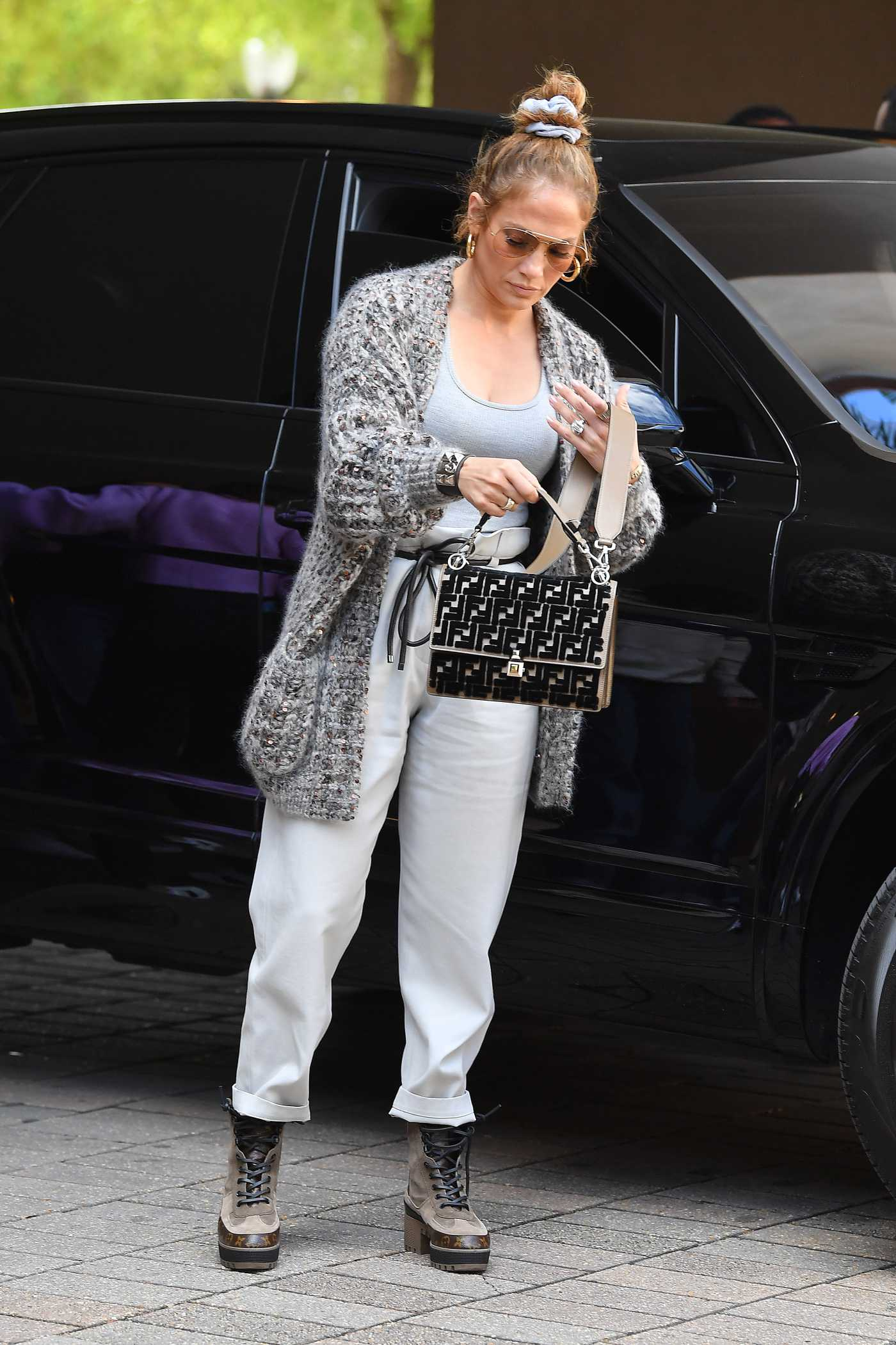 Jennifer Lopez in a White Pants Out for Lunch in Miami 03/07/2020
