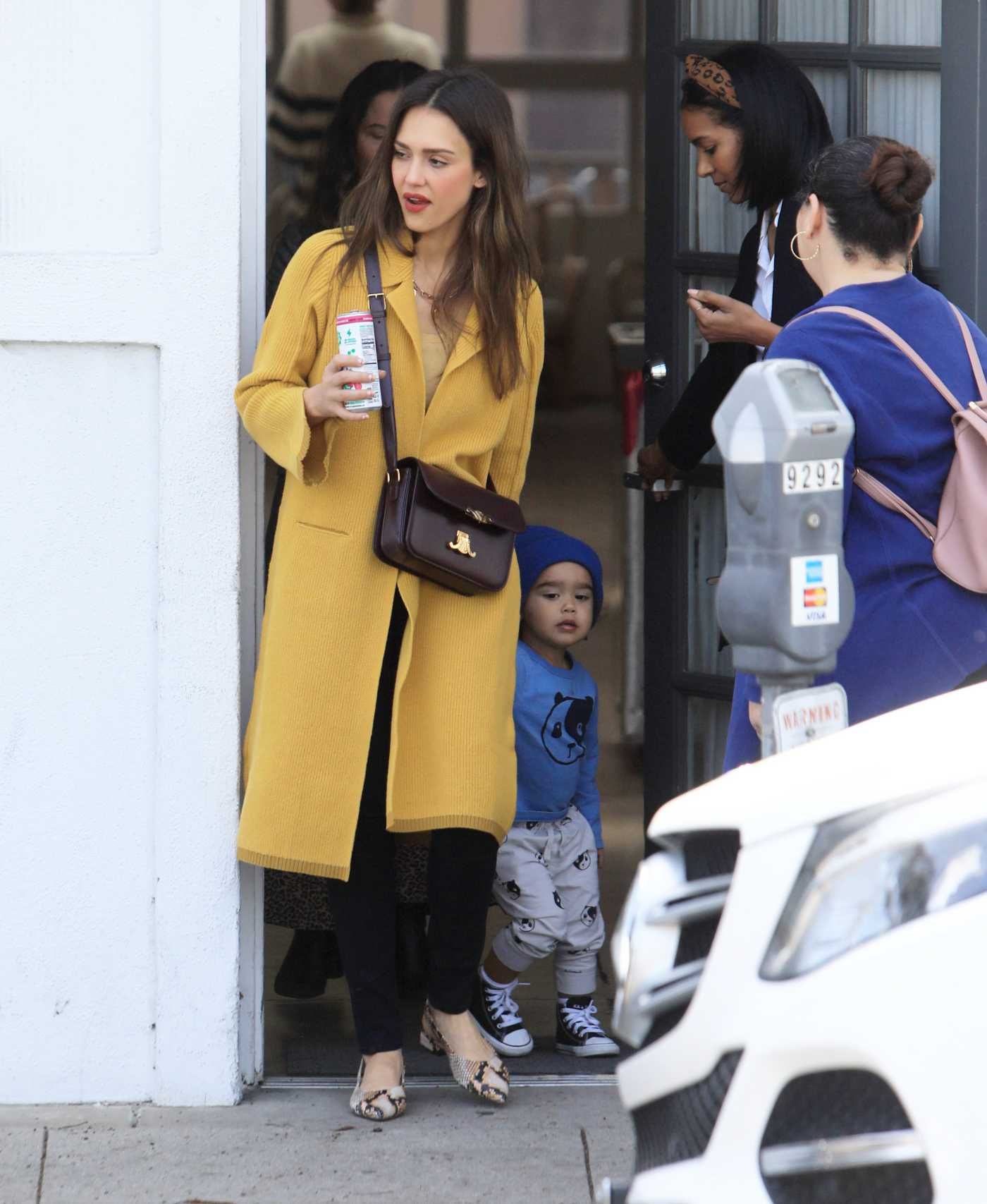 Jessica Alba in a Yellow Cardigan Was Seen Out in Beverly Hills 03/07/2020