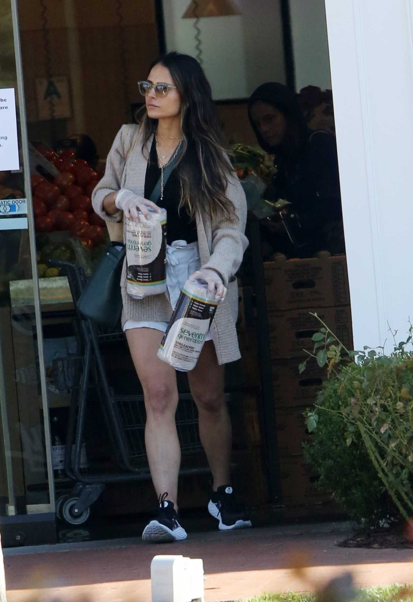 Jordana Brewster in a Beige Cardigan Goes Shopping at Erewhon Market in Pacific Palisades 03/21/2020