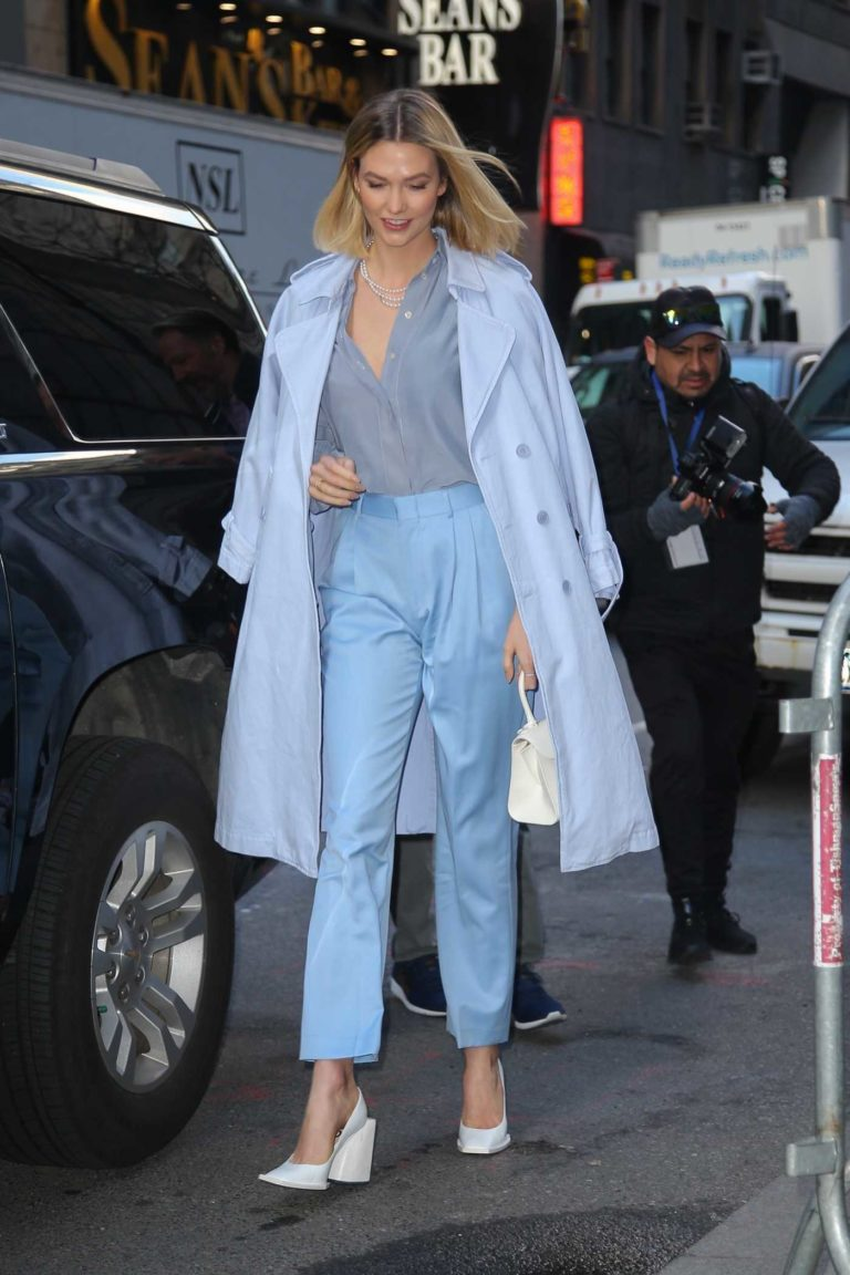 Karlie Kloss in a Light Blue Trench Coat