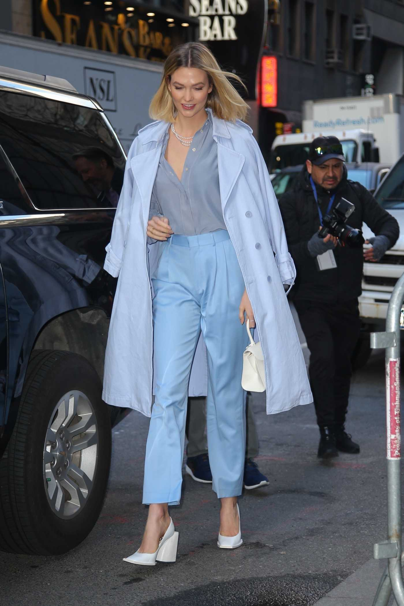 Karlie Kloss in a Light Blue Trench Coat Was Seen Out in New York City 03/06/2020