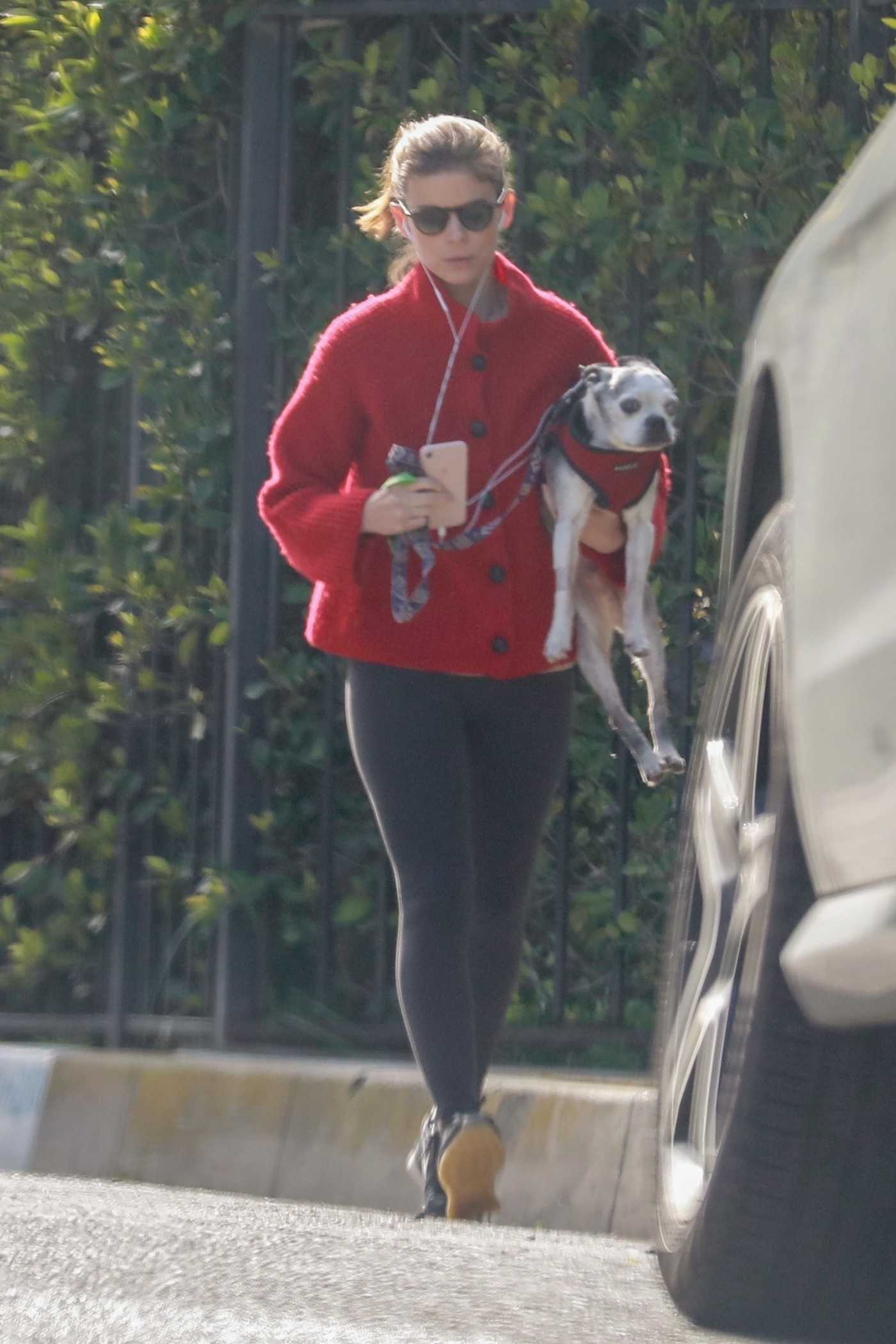 Kate Mara in a Red Cardigan Was Seen Out with Her Pup in Los Feliz 03/20/2020