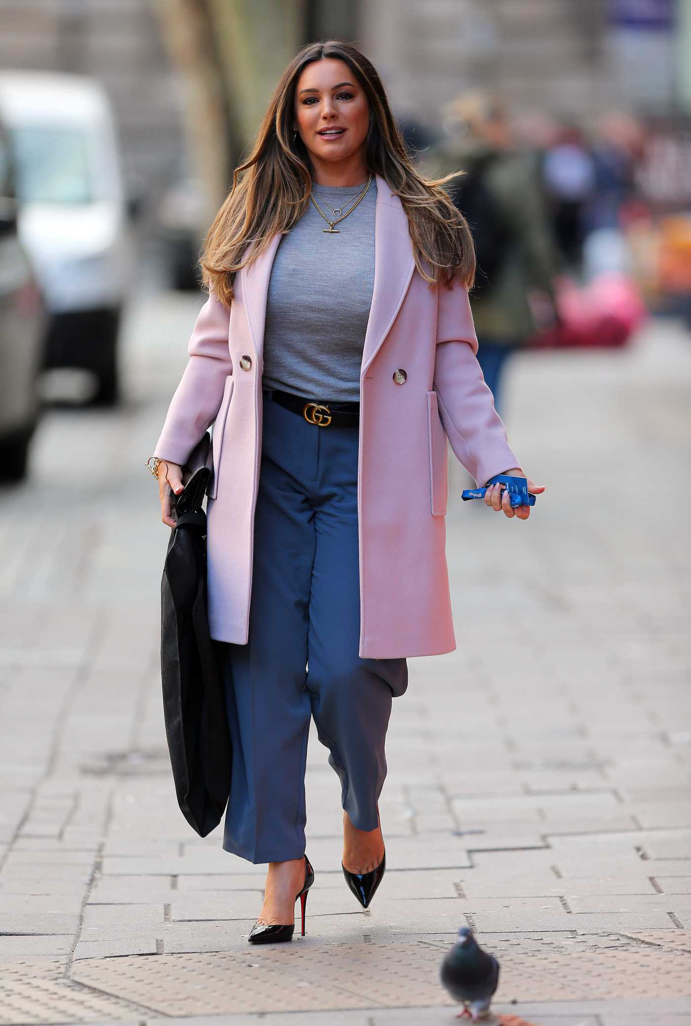 Kelly Brook in a Pink Coat Was Seen Out in Central London 03/02/2020