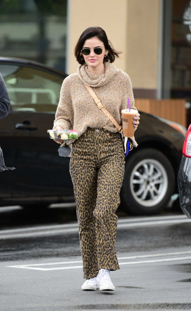Lucy Hale in an Animal Print Pants