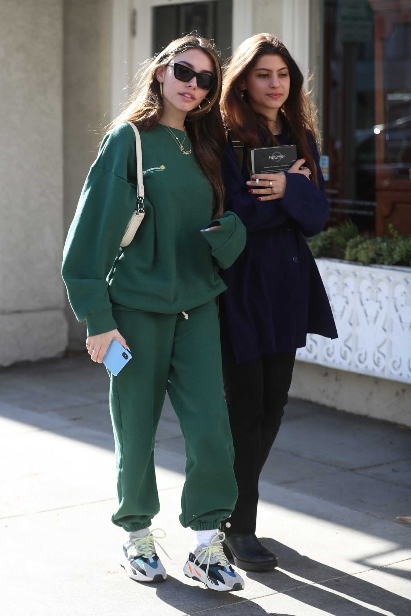 Madison Beer in a Green Sweatsuit Leaves Lunch with Friends at Croft Alley in Beverly Hills 03/02/2020