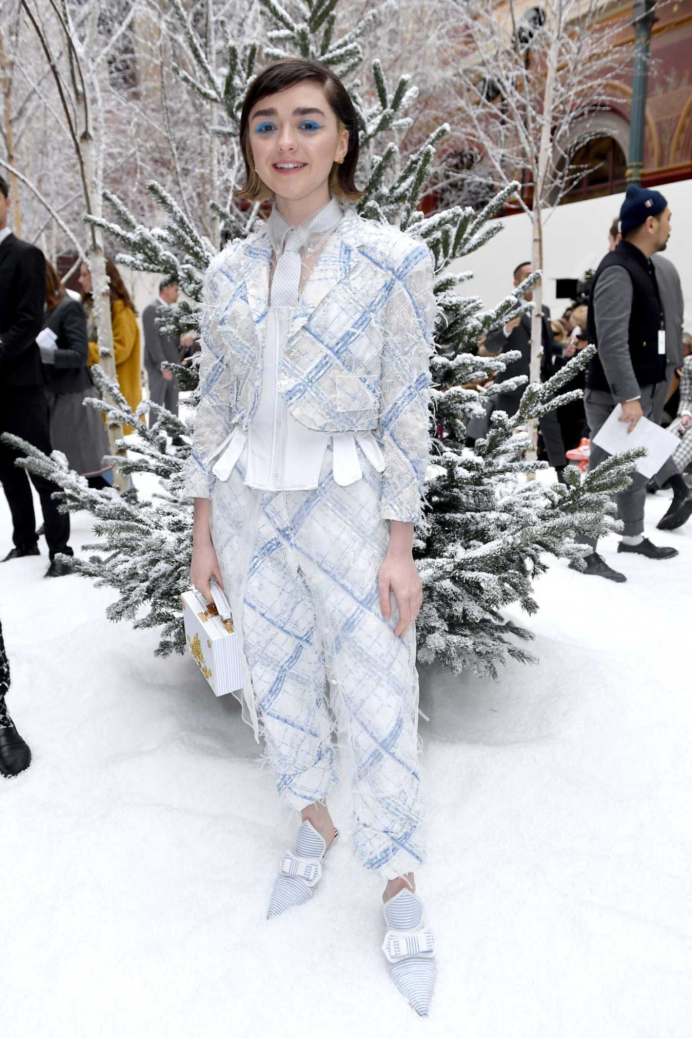 Maisie Williams Attends 2020 Thom Browne Show in Paris 03/01/2020