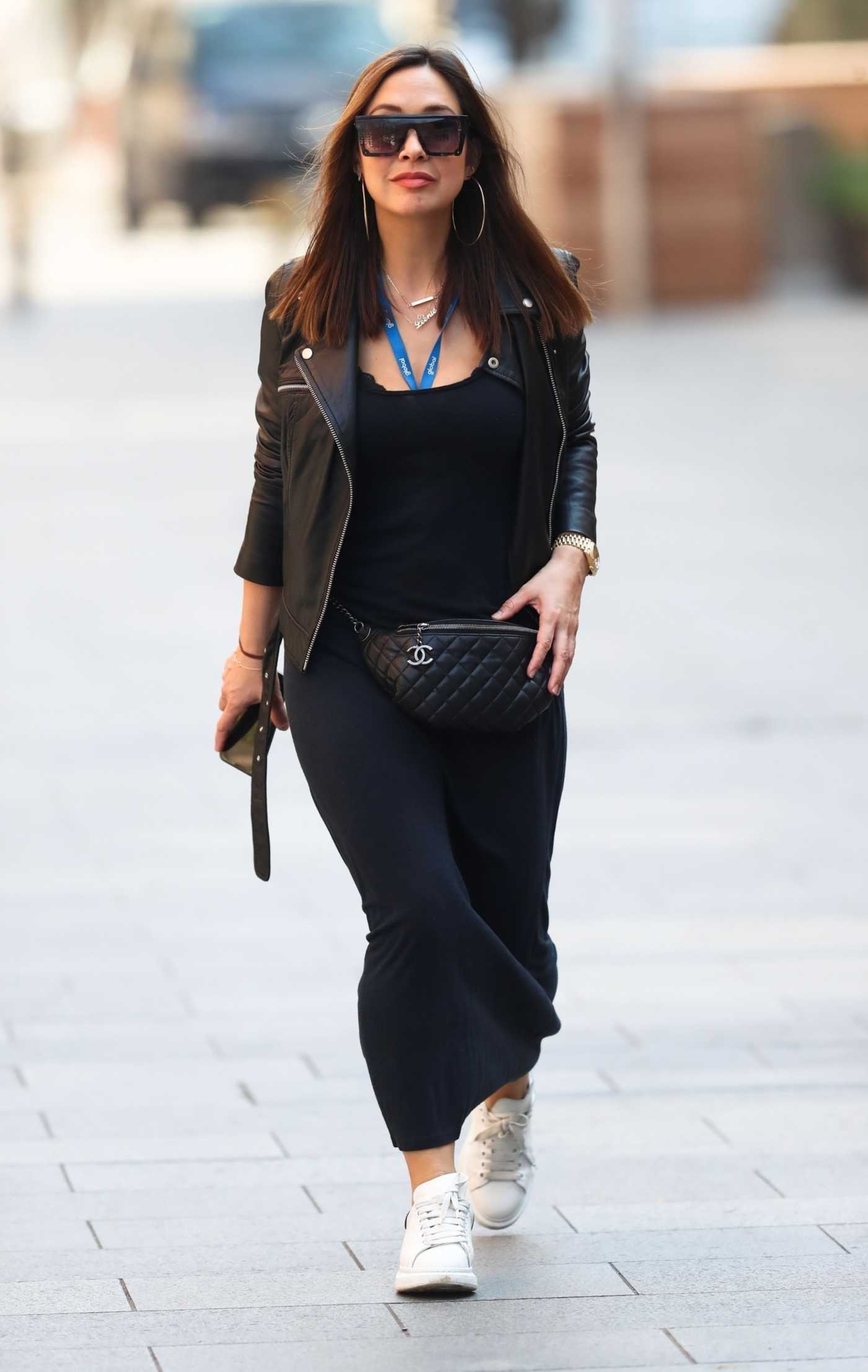 Myleene Klass in a Black Leather Jacket Arrives at Global Radio in London 03/27/2020