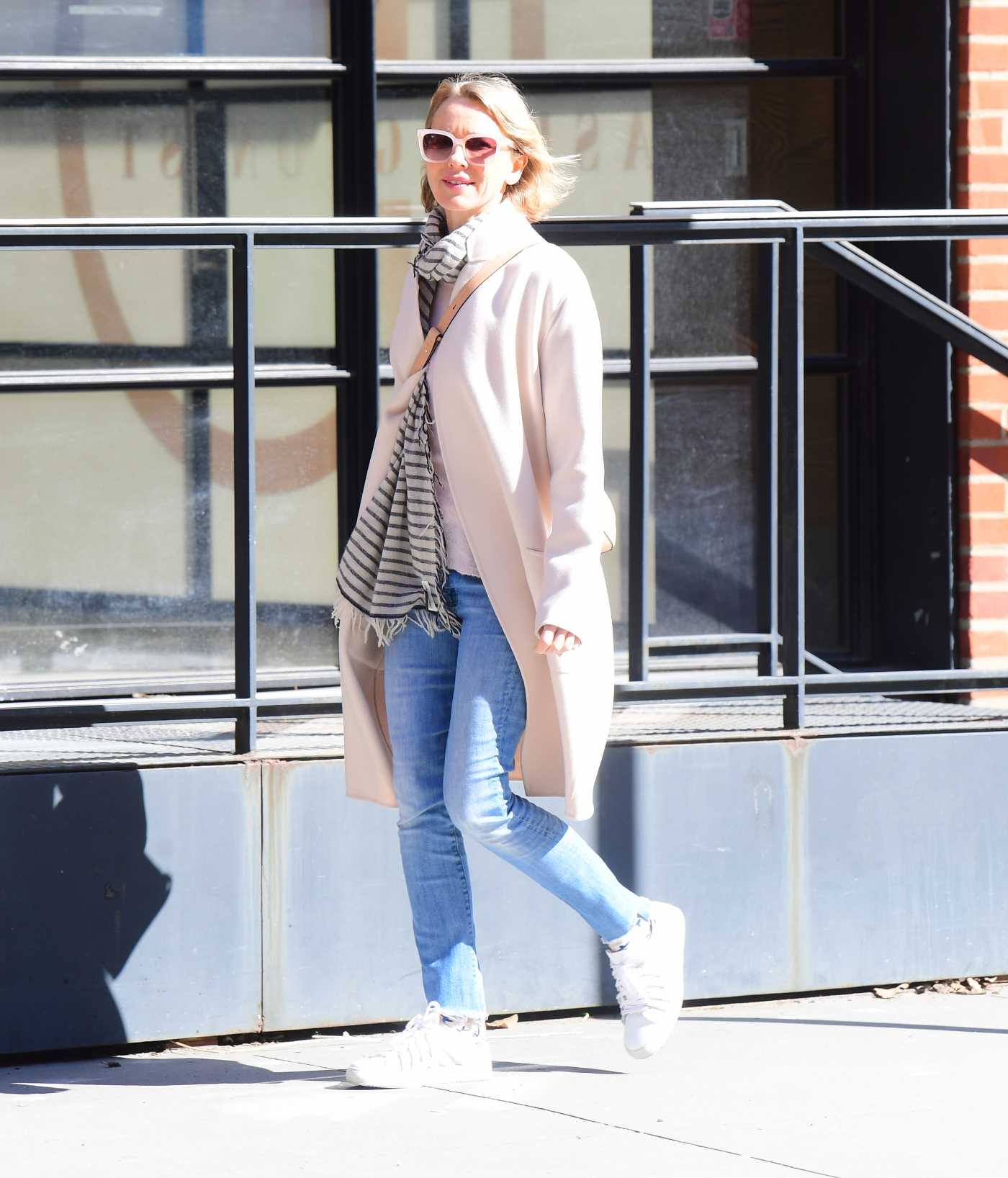 Naomi Watts in a Beige Coat Was Seen Out in New York 03/09/2020