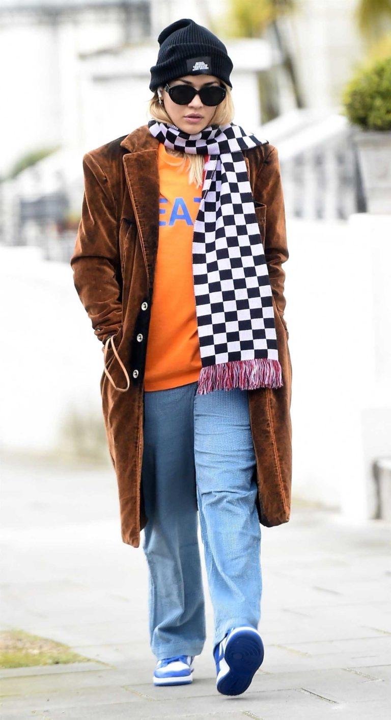 Rita Ora in a Brown Coat