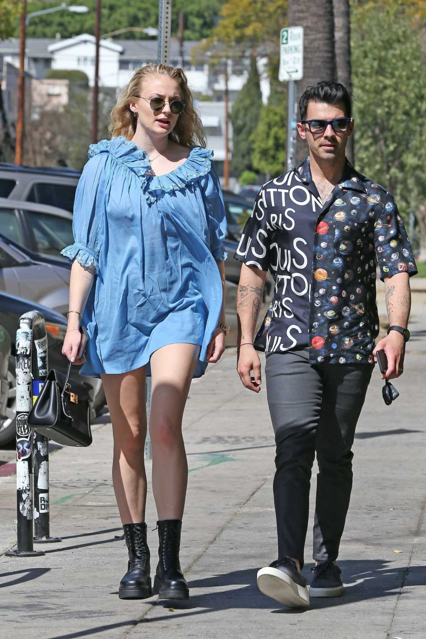 Sophie Turner in Short Blue Dress Was Seen Out with Joe Jonas in Los Feliz 03/04/2020