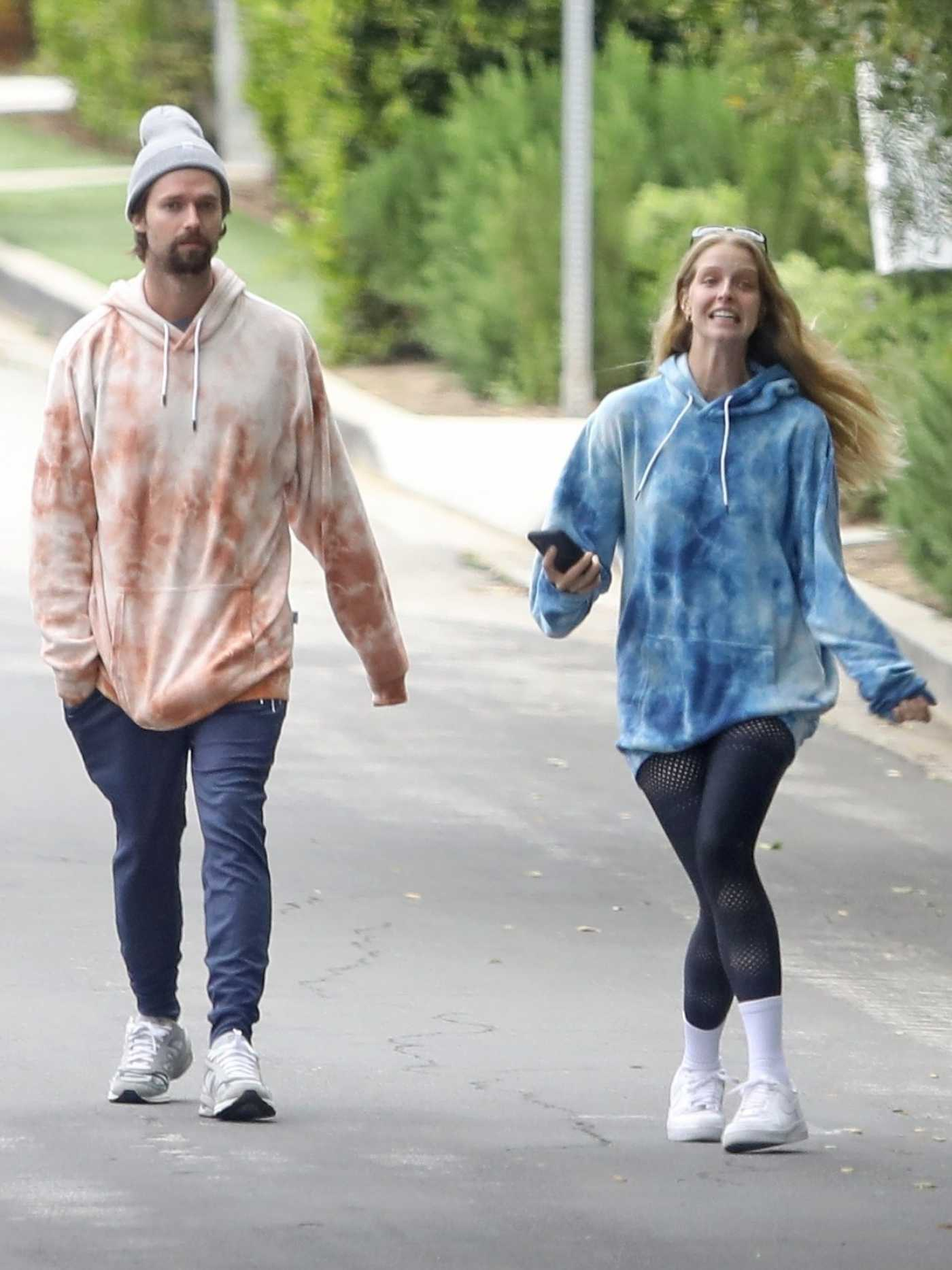 Abby Champion in a Blue Hoody Was Seen Out with Patrick Schwarzenegger in Brentwood 04/18/2020
