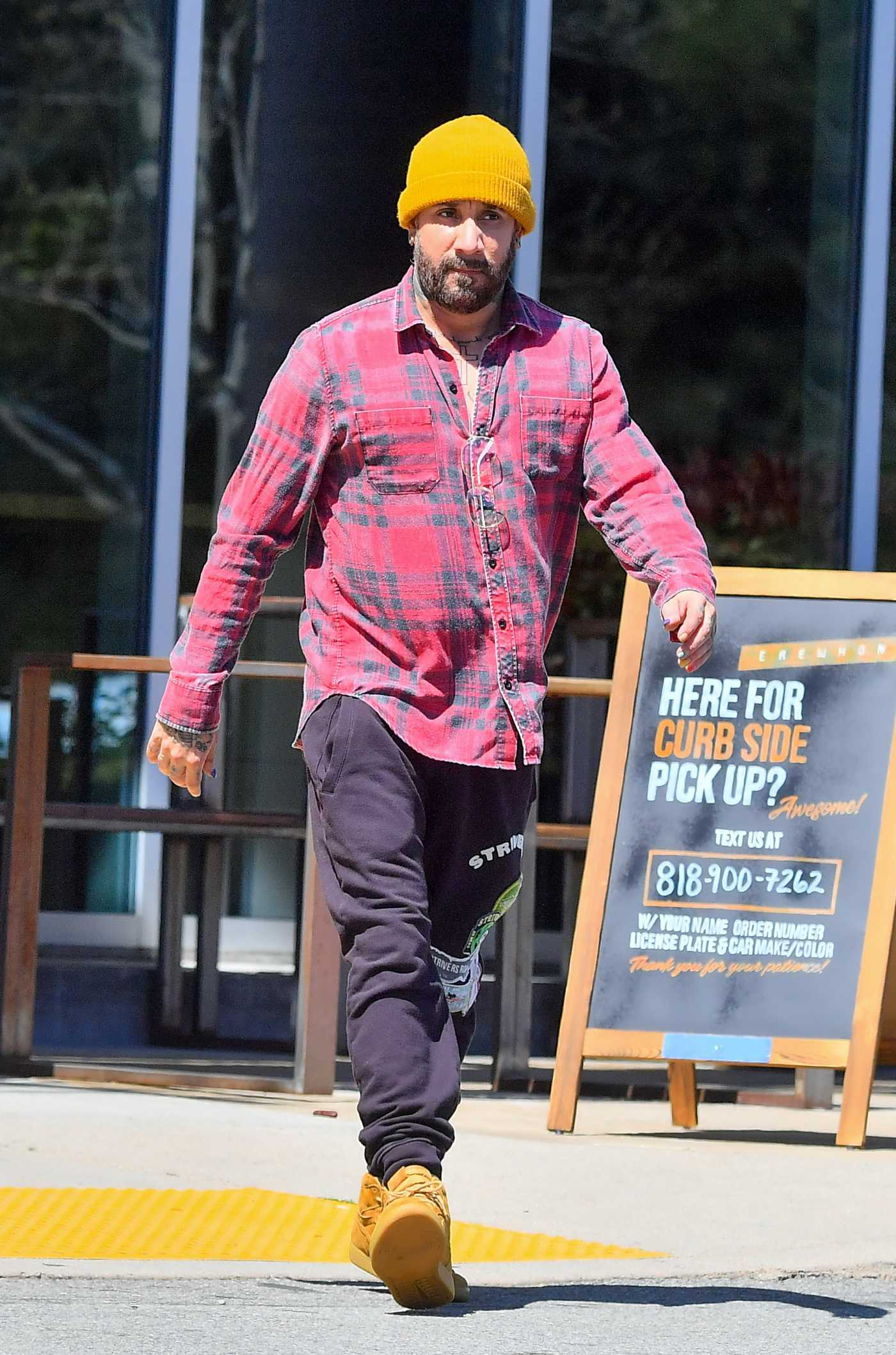 AJ McLean in a Yellow Knit Hat Was Seen Out in Calabasas 04/16/2020