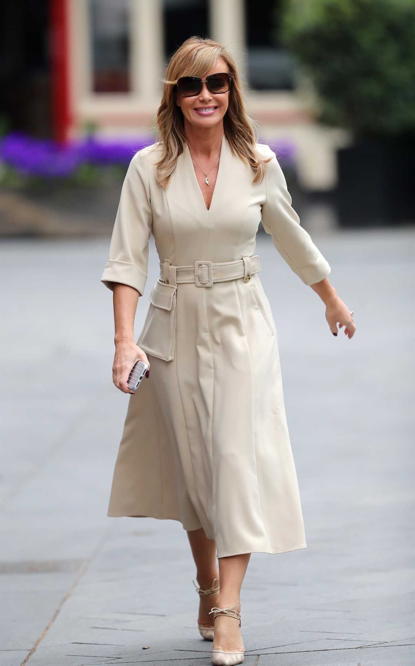 Amanda Holden in a Beige Dress Arrives at the Global Radio Studios in London 04/27/2020