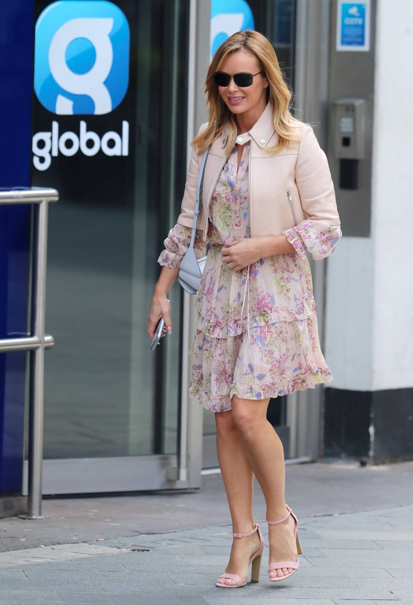 Amanda Holden in a Beige Floral Dress Leaves the Global Radio in London 04/08/2020