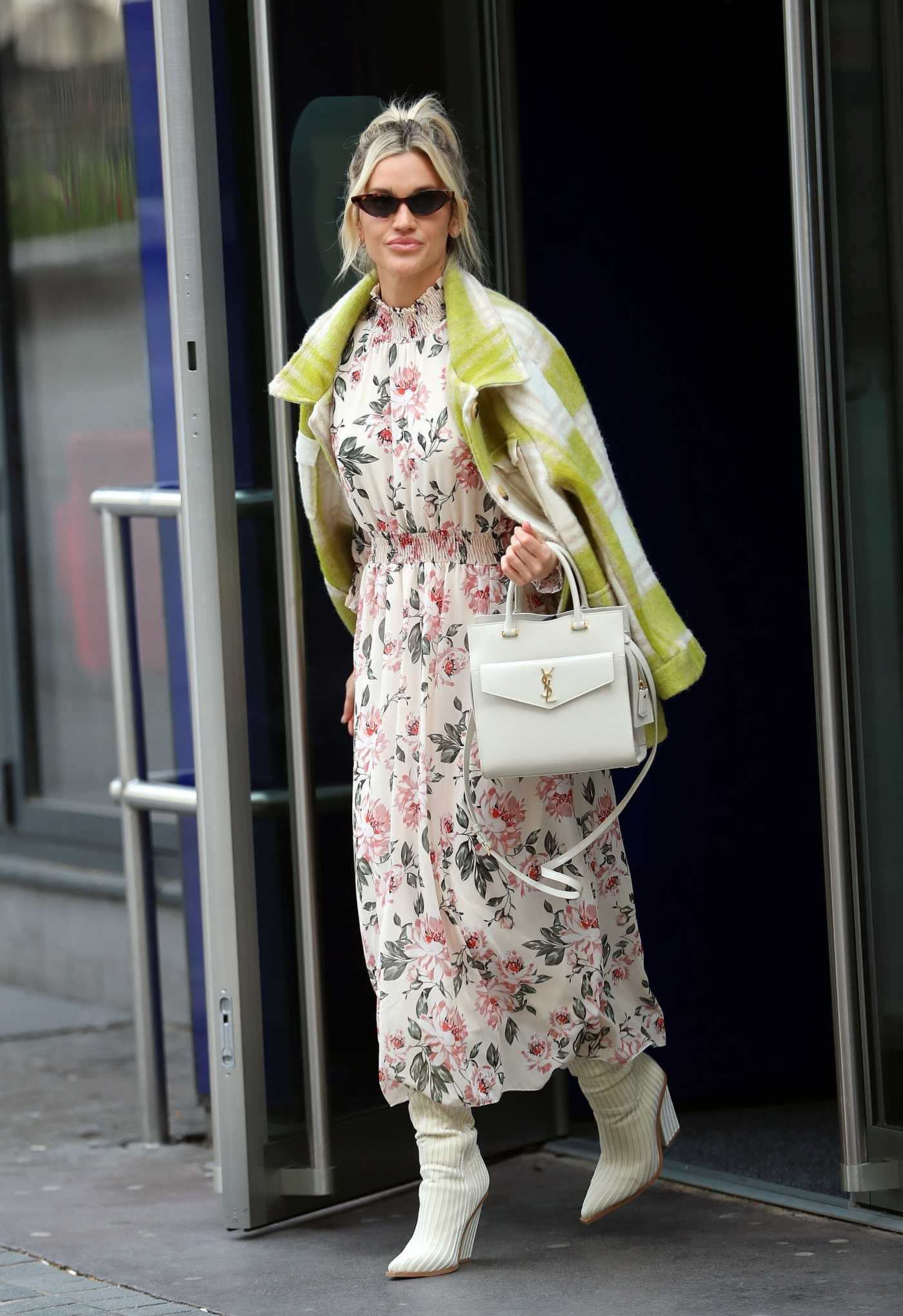 Ashley Roberts in a White Floral Dress Leaves the Global Studios in London 04/08/2020