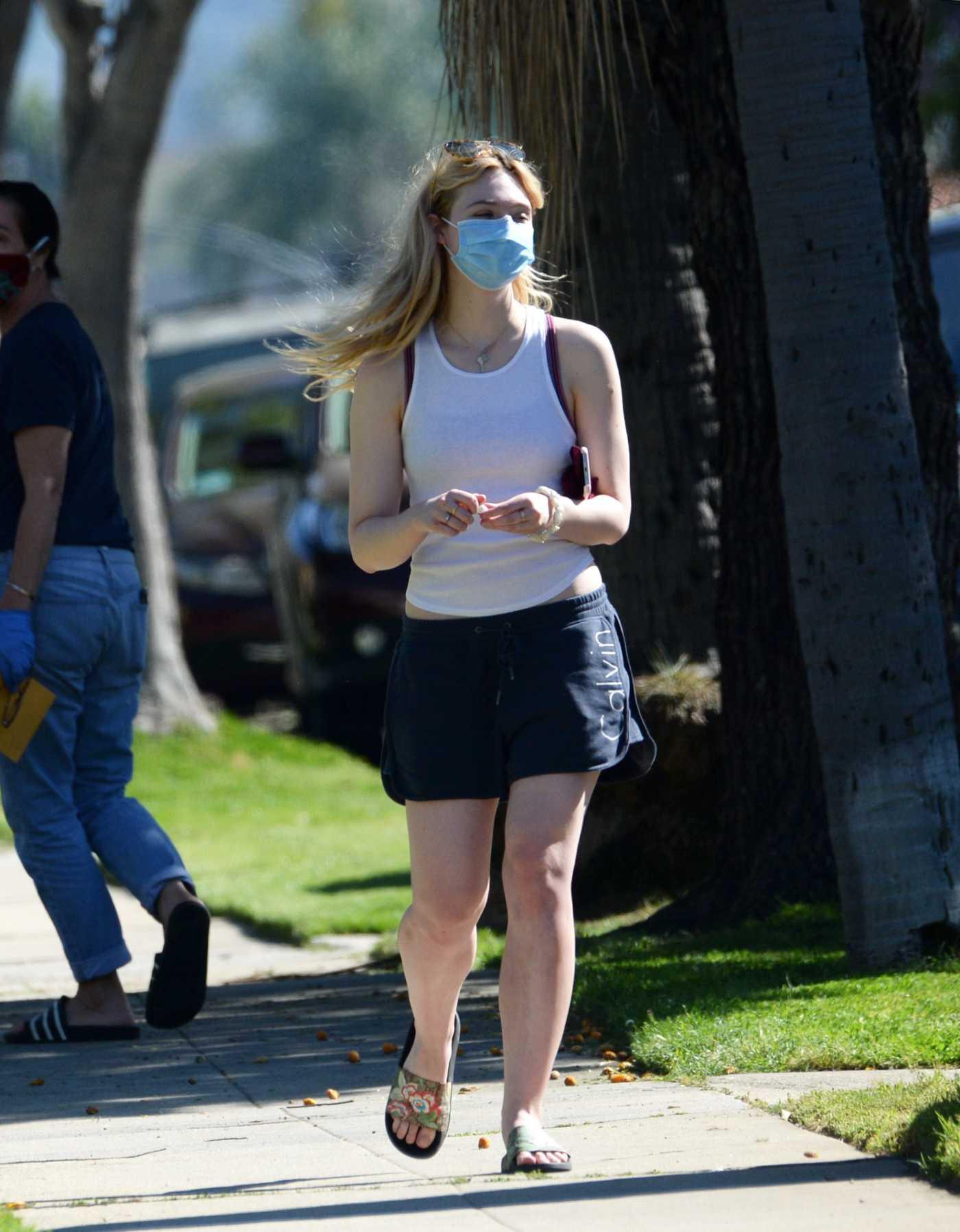 Elle Fanning in a Face Mask Was Seen Out in Sherman Oaks 04/28/2020