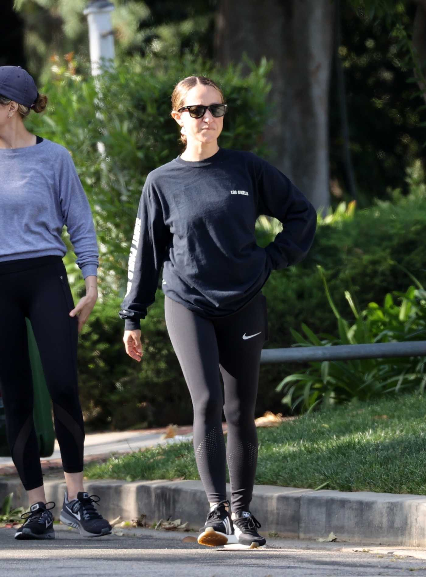 Jennifer Meyer in a Black Leggings Was Seen Out with a Friend in Brentwood 04/28/2020