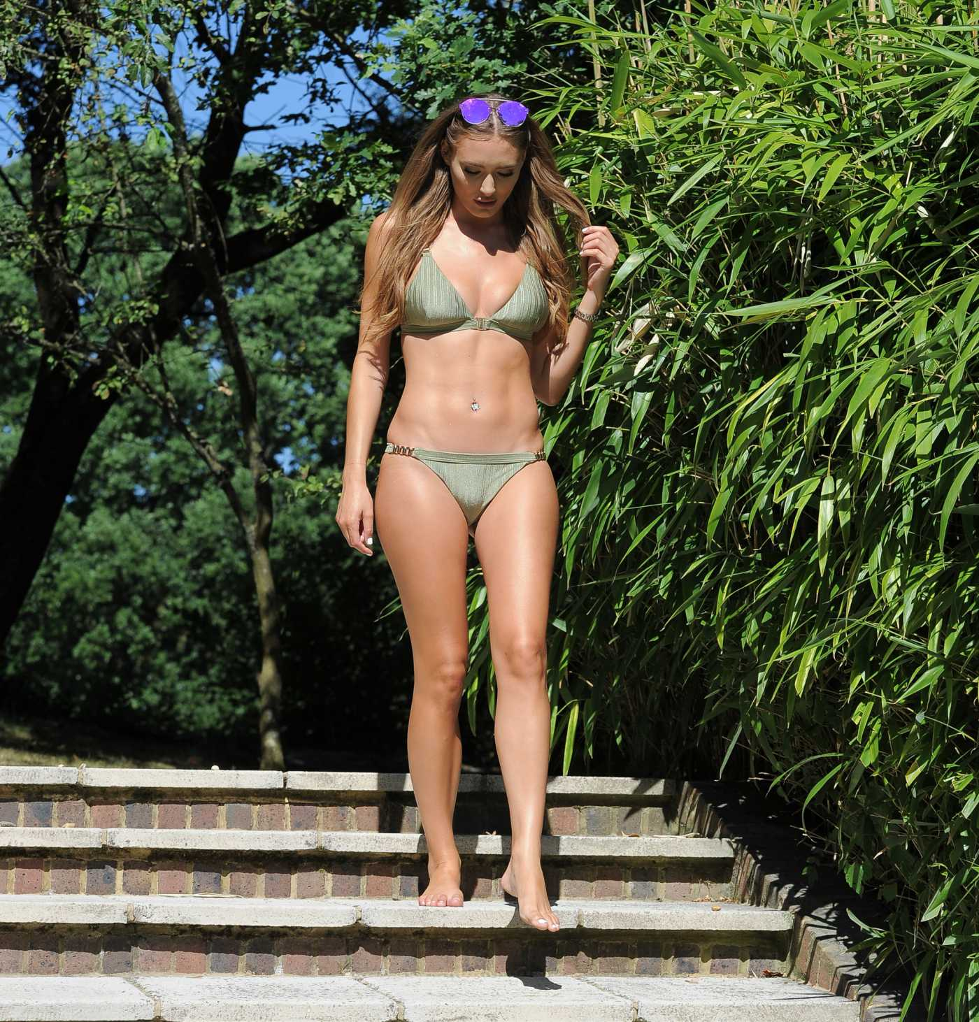 Georgie Clarke in a Green Bikini By the Pool at Her Parents House in Hasslemere 04/26/2020