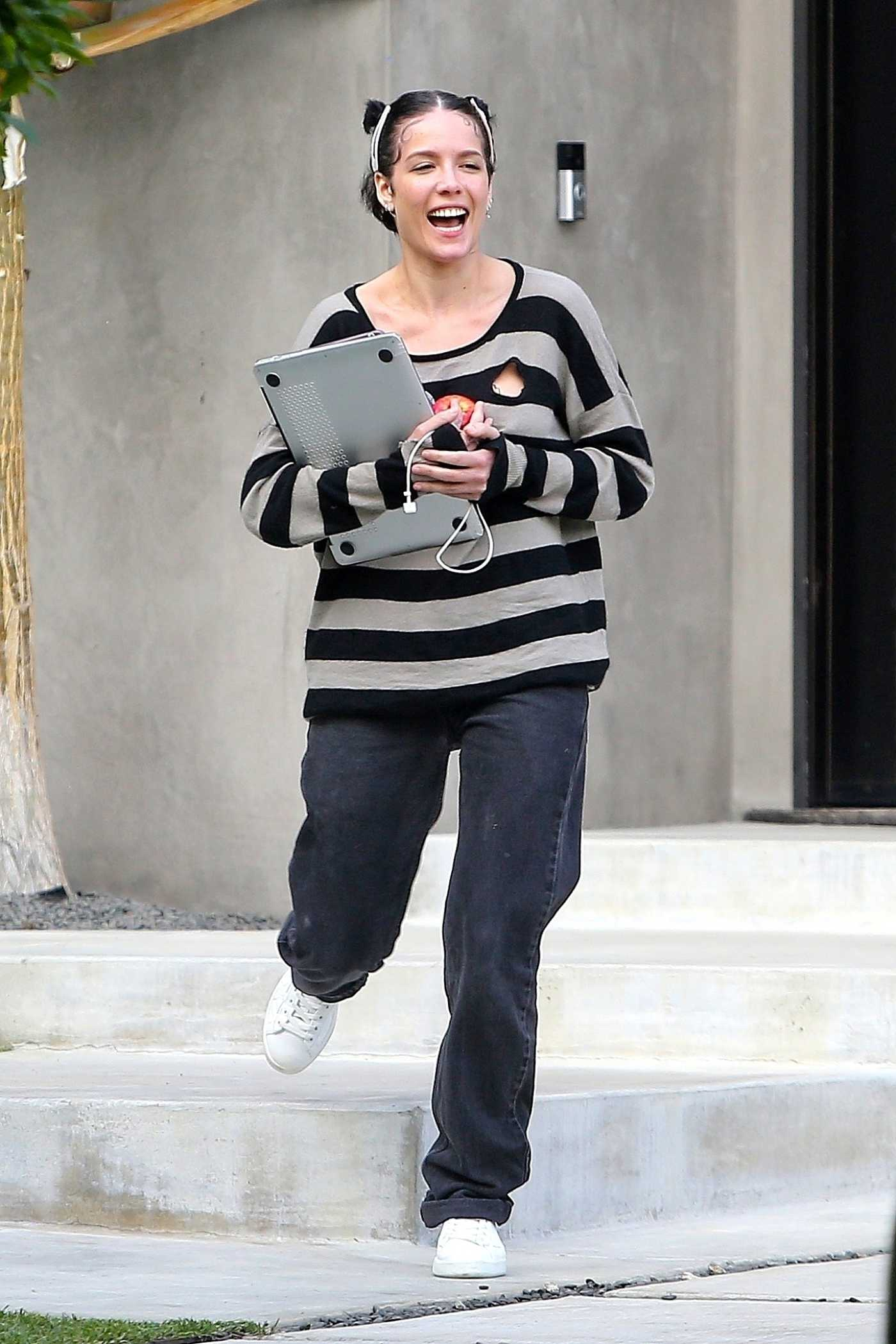 Halsey in a Striped Sweatshirt Was Seen Out in Sherman Oaks 04/20/2020