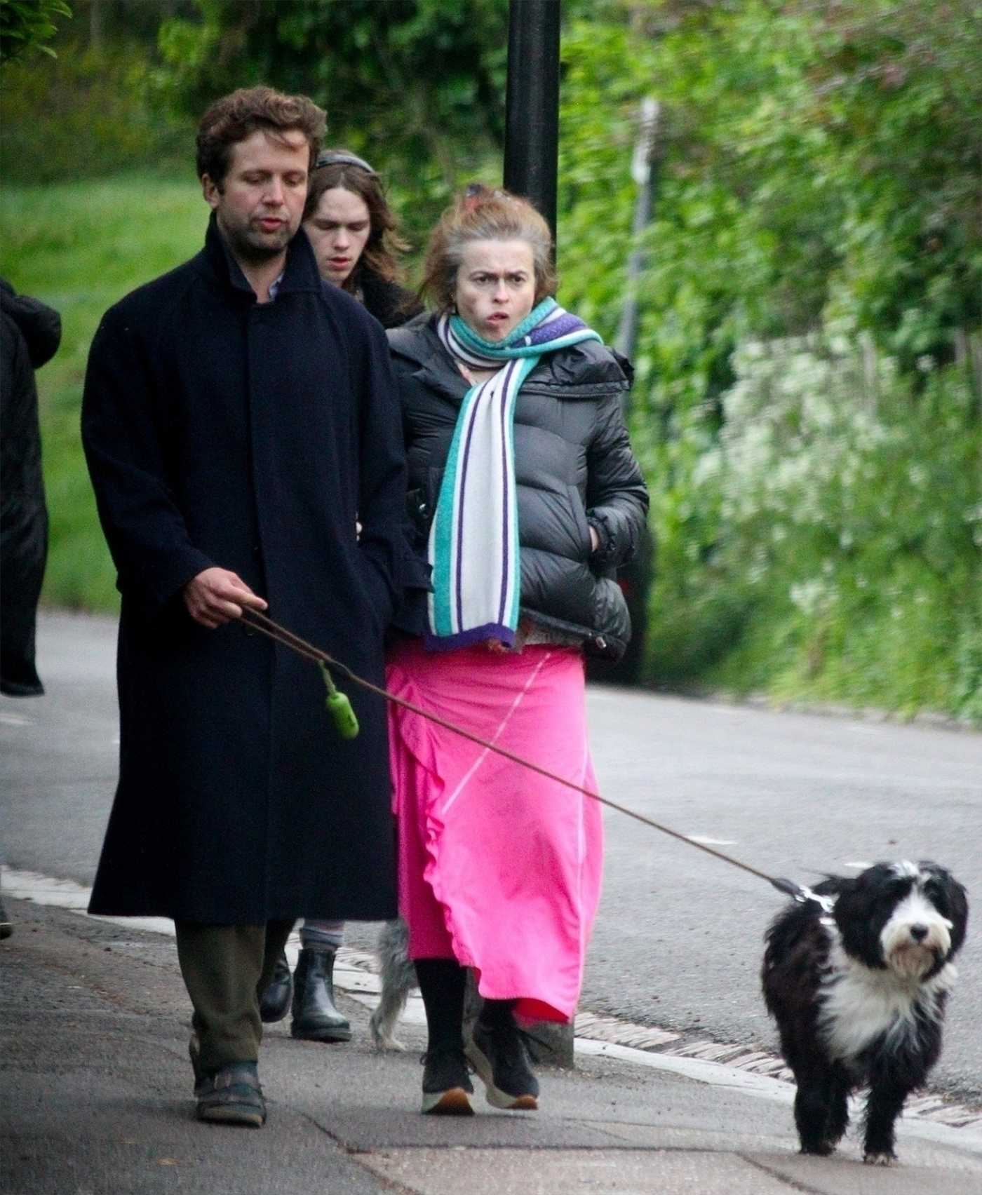 Helena Bonham Carter in a Black Jacket Walks Her Dog Out with Rye Dag Holmboe in London 04/17/2020