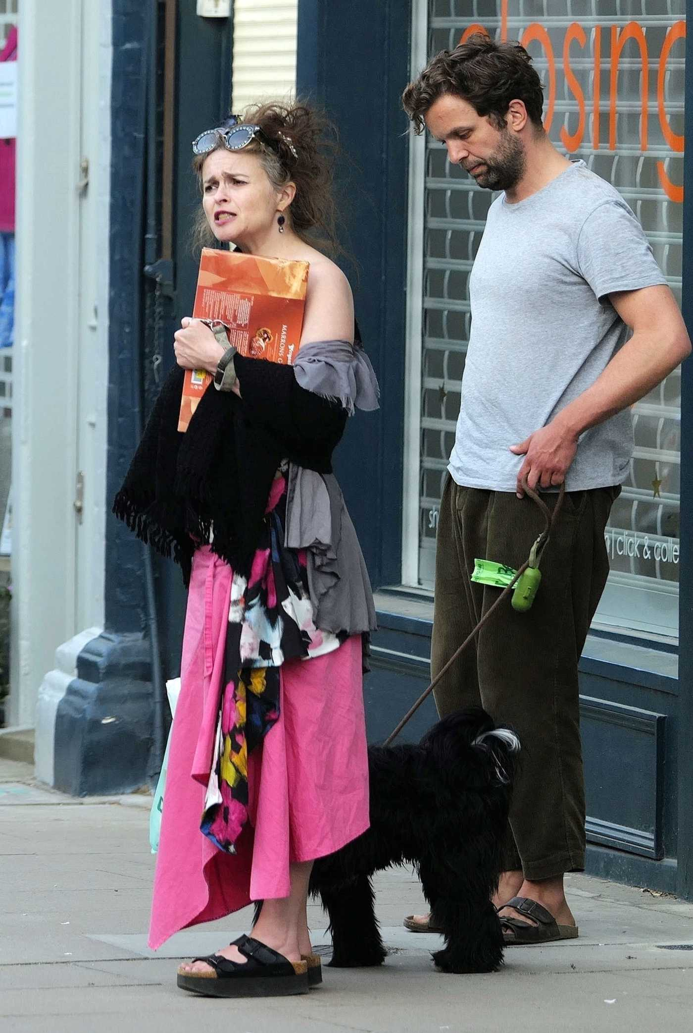 Helena Bonham Carter in a Purple Skirt Was Seen Out with Rye Dag Holmboe in North London 04/23/2020