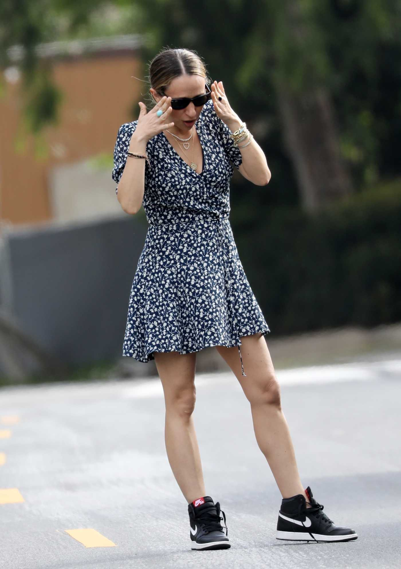 Jennifer Meyer in a Short Floral Dress Was Seen Out in Brentwood 04/19/2020