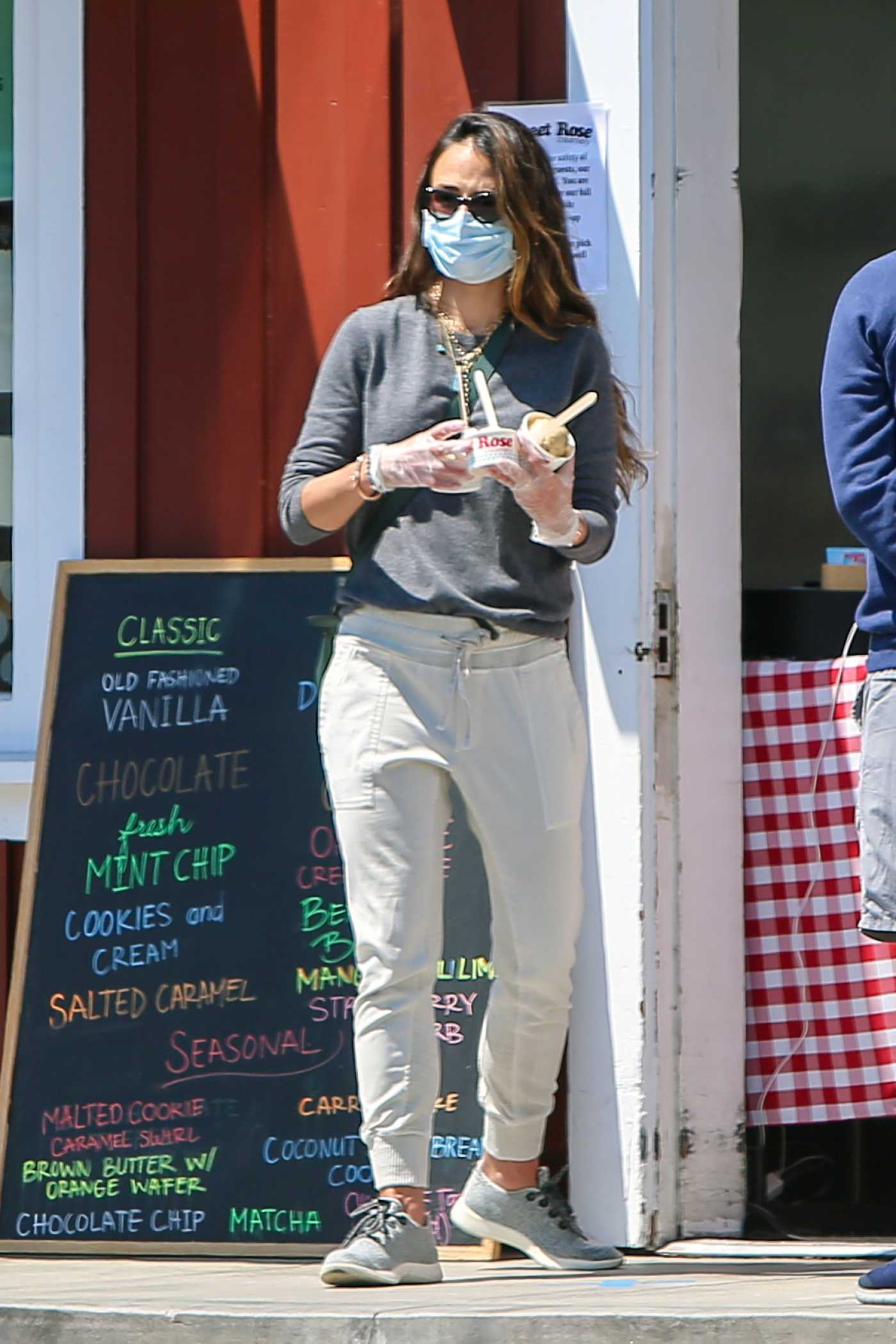 Jordana Brewster in a Face Mask Heads Out for Ice Cream in Los Angeles 04/16/2020