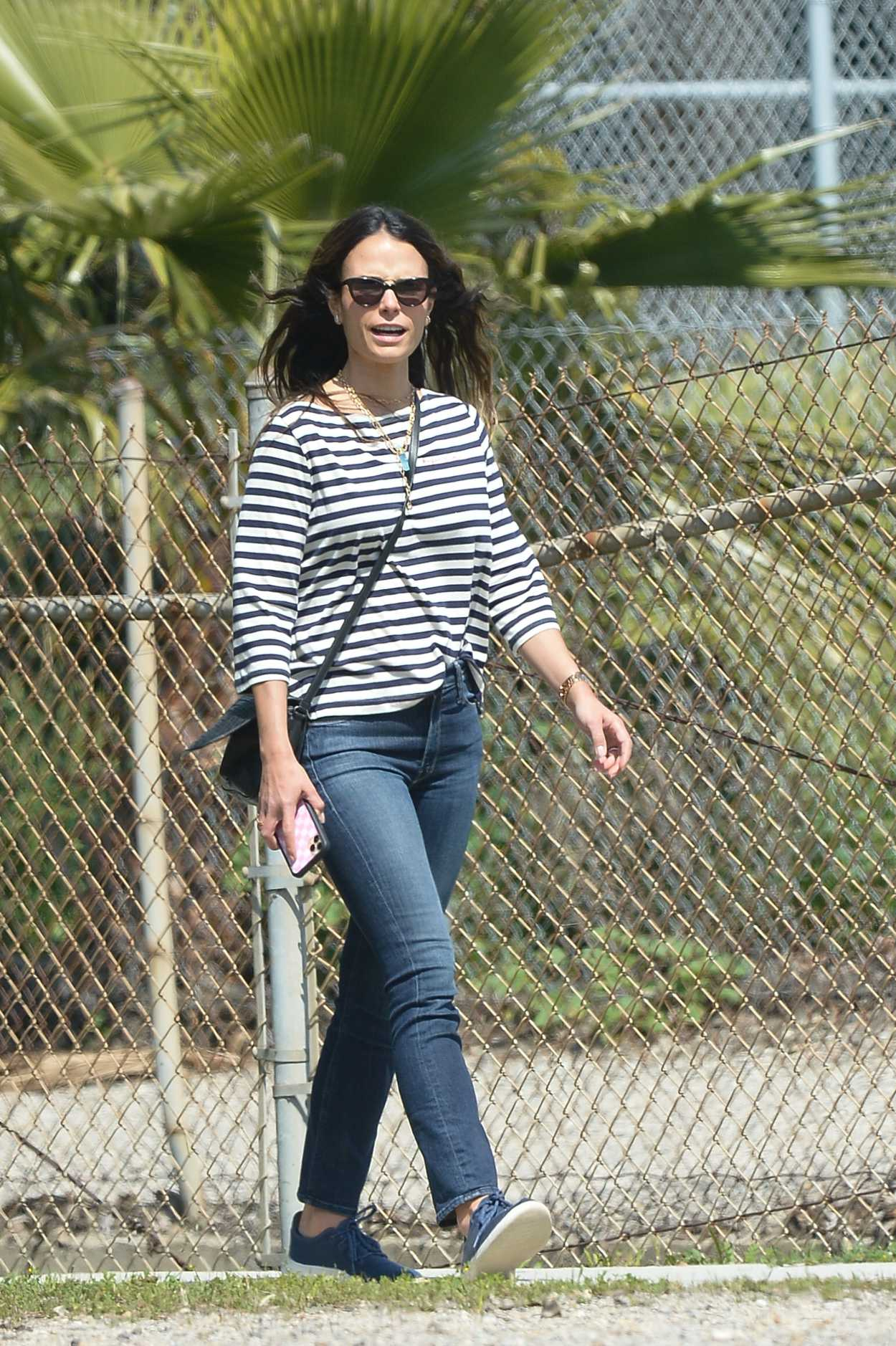 Jordana Brewster in a Striped Long Sleeves T-Shirt Was Spotted Out in Los Angeles 03/31/2020