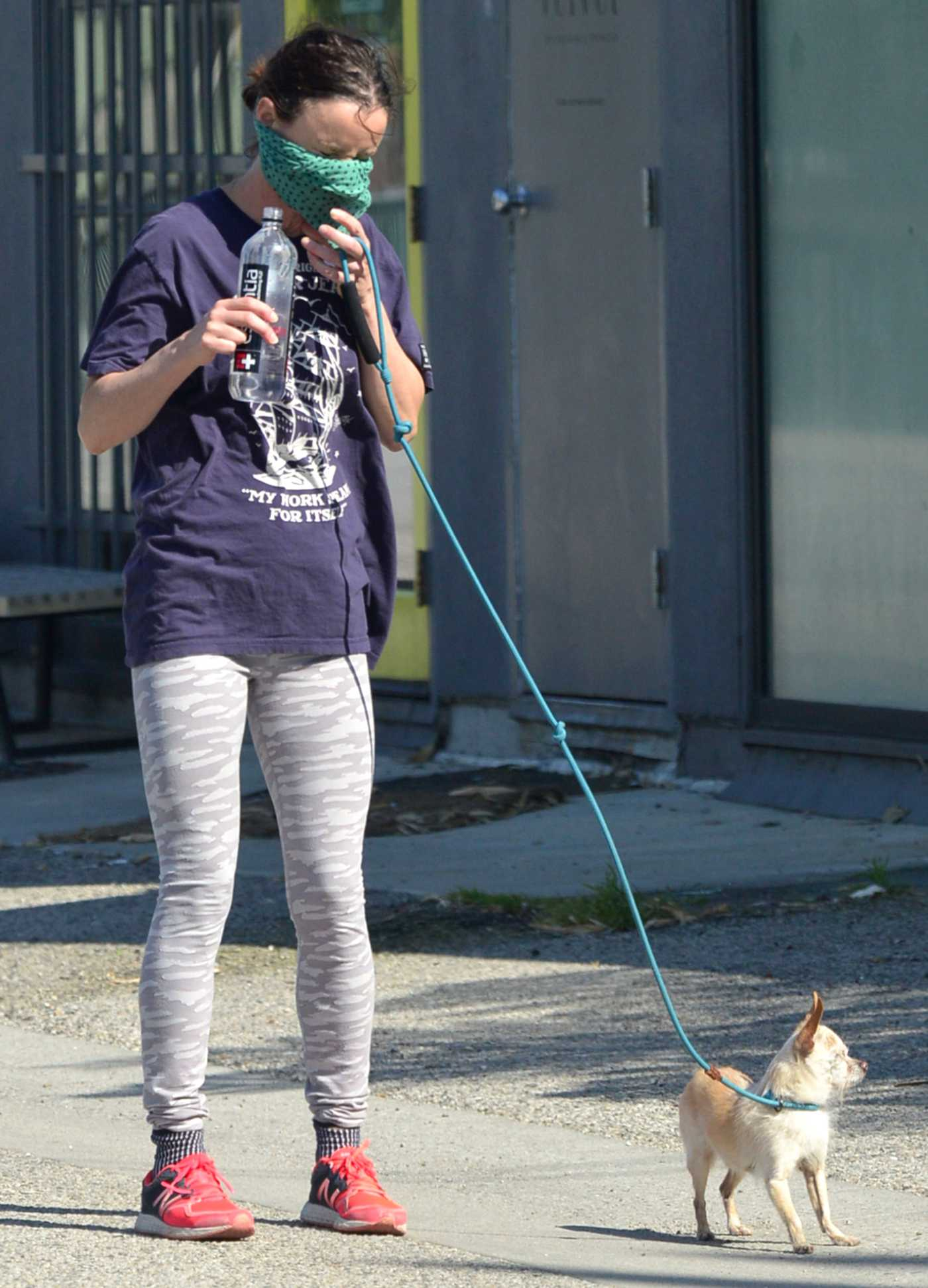 Juliette Lewis in a Purple Tee Walks Her Dogs in Venice 04/20/2020