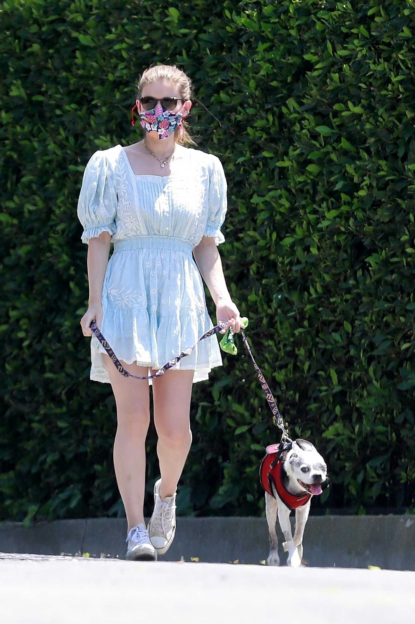Kate Mara in a Face Mask Walks Her Dog in Her Neighborhood in Los Feliz 04/27/2020
