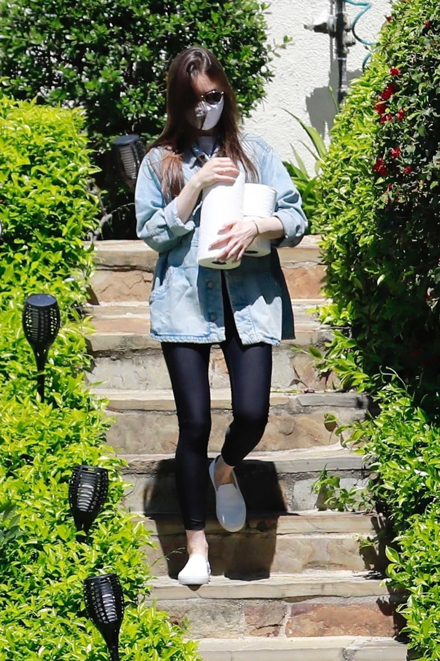 Lily Collins in a Face Mask Visits a Family Member in LA 04/15/2020