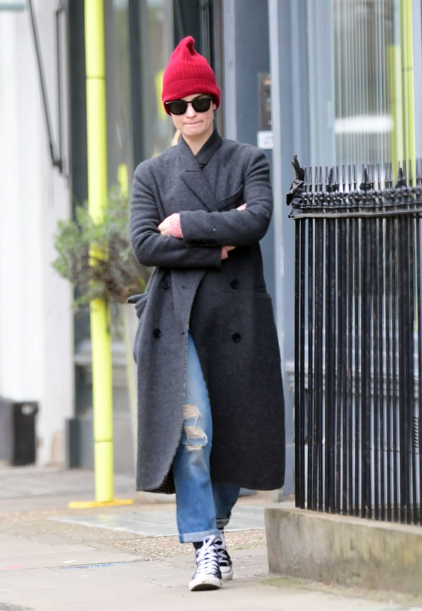 Lily James in a Red Knit Hat Was Spotted in North London 04/02/2020