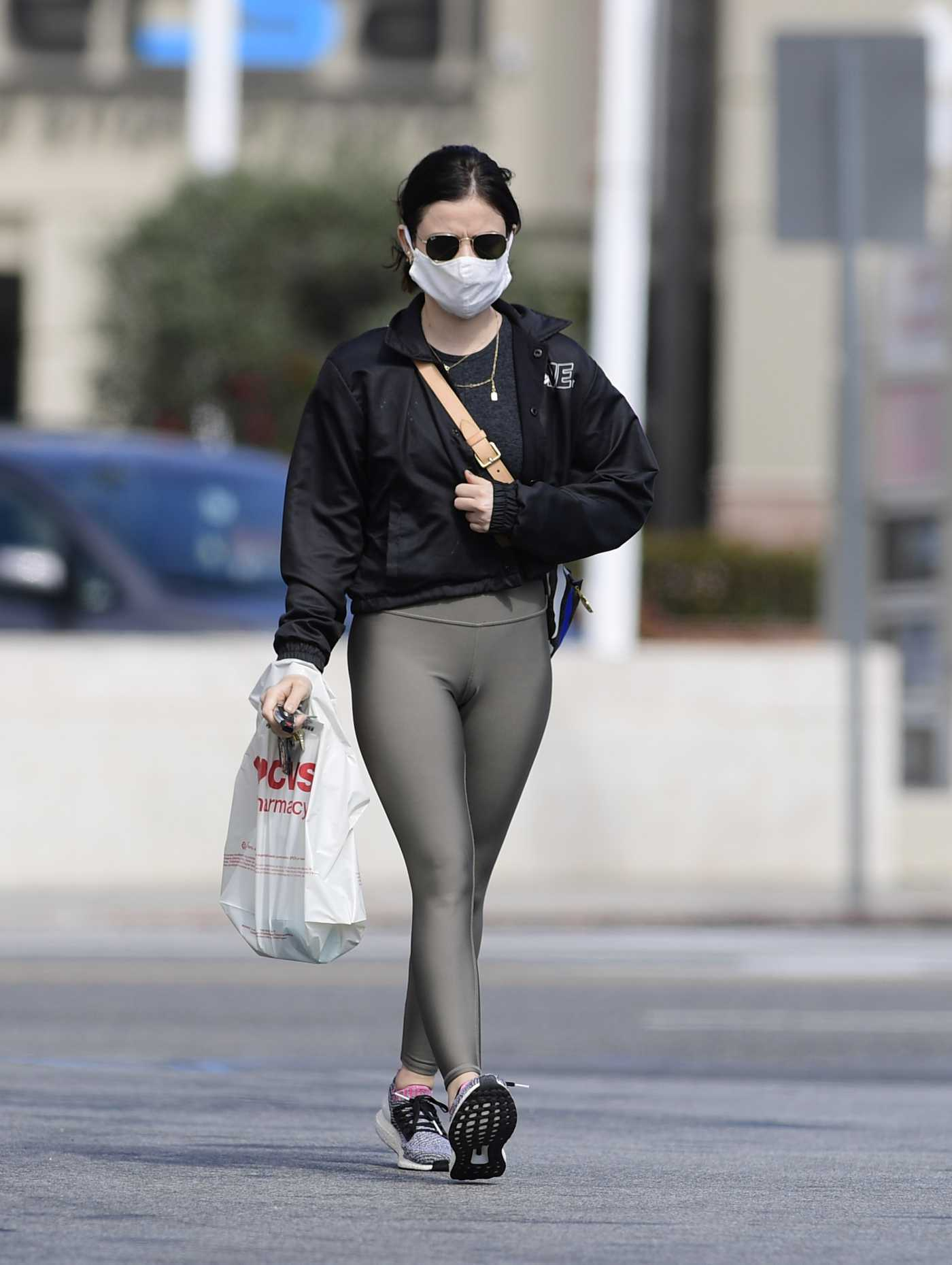 Lucy Hale in a Black Jacket Was Seen Out in West Hollywood 04/04/2020