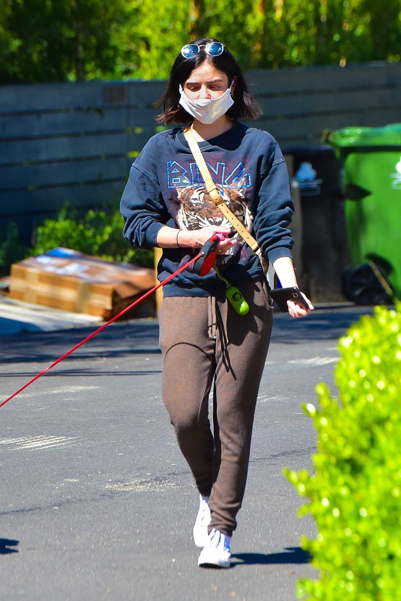 Lucy Hale in a Blue Sweatshirt Walks Her Dog Elvis in Los Angeles 04/22/2020