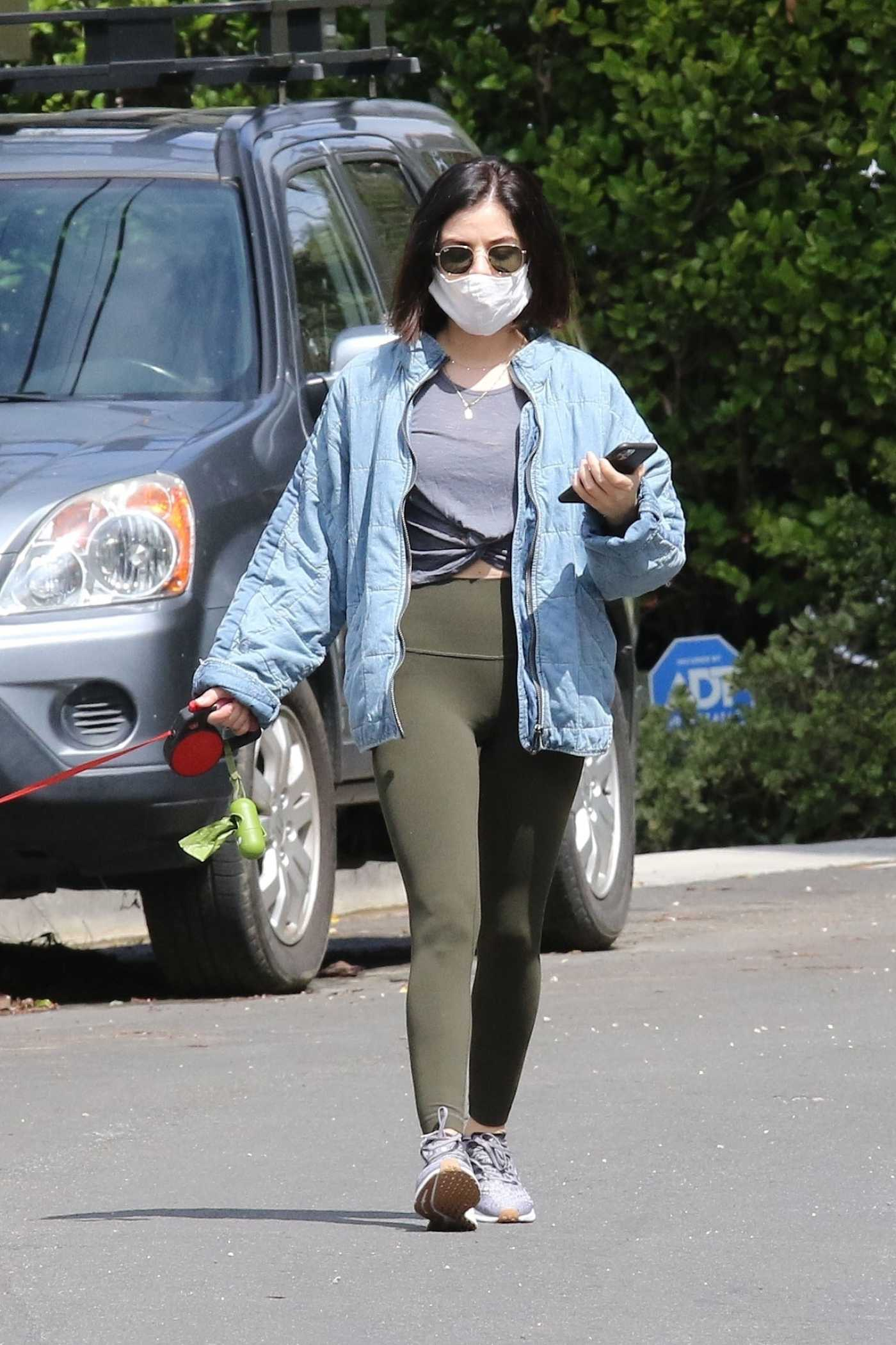 Lucy Hale in a Face Mask Walks Her Dog Elvis in Los Angeles 04/13/2020
