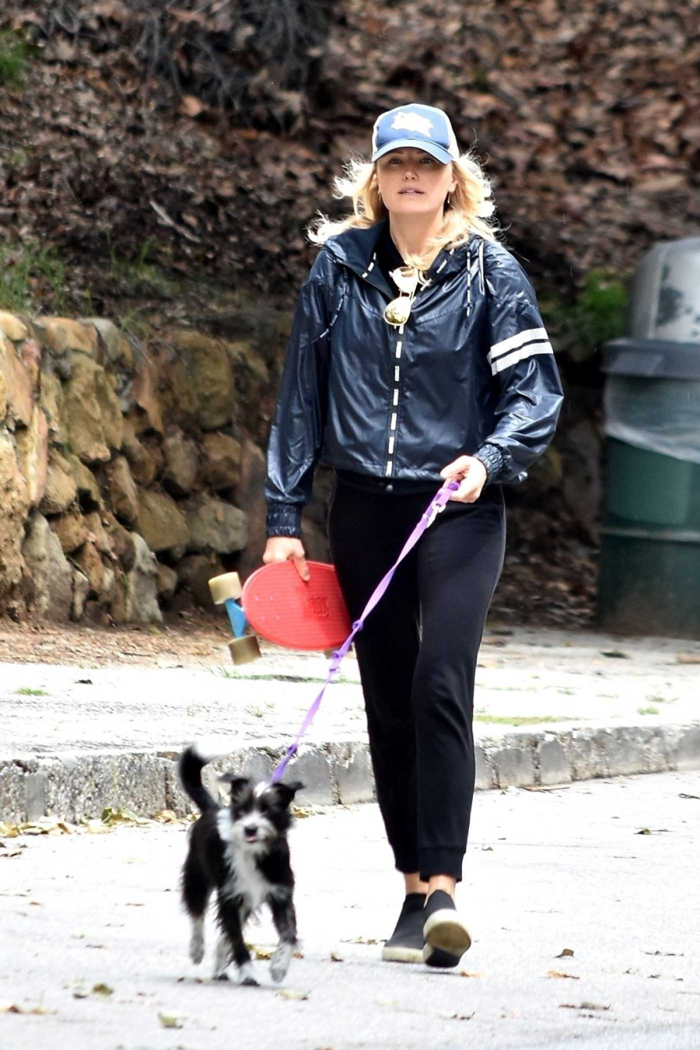 Malin Akerman in a Blue Windbreaker Walks Her Dog in Los Angeles 04/08/2020