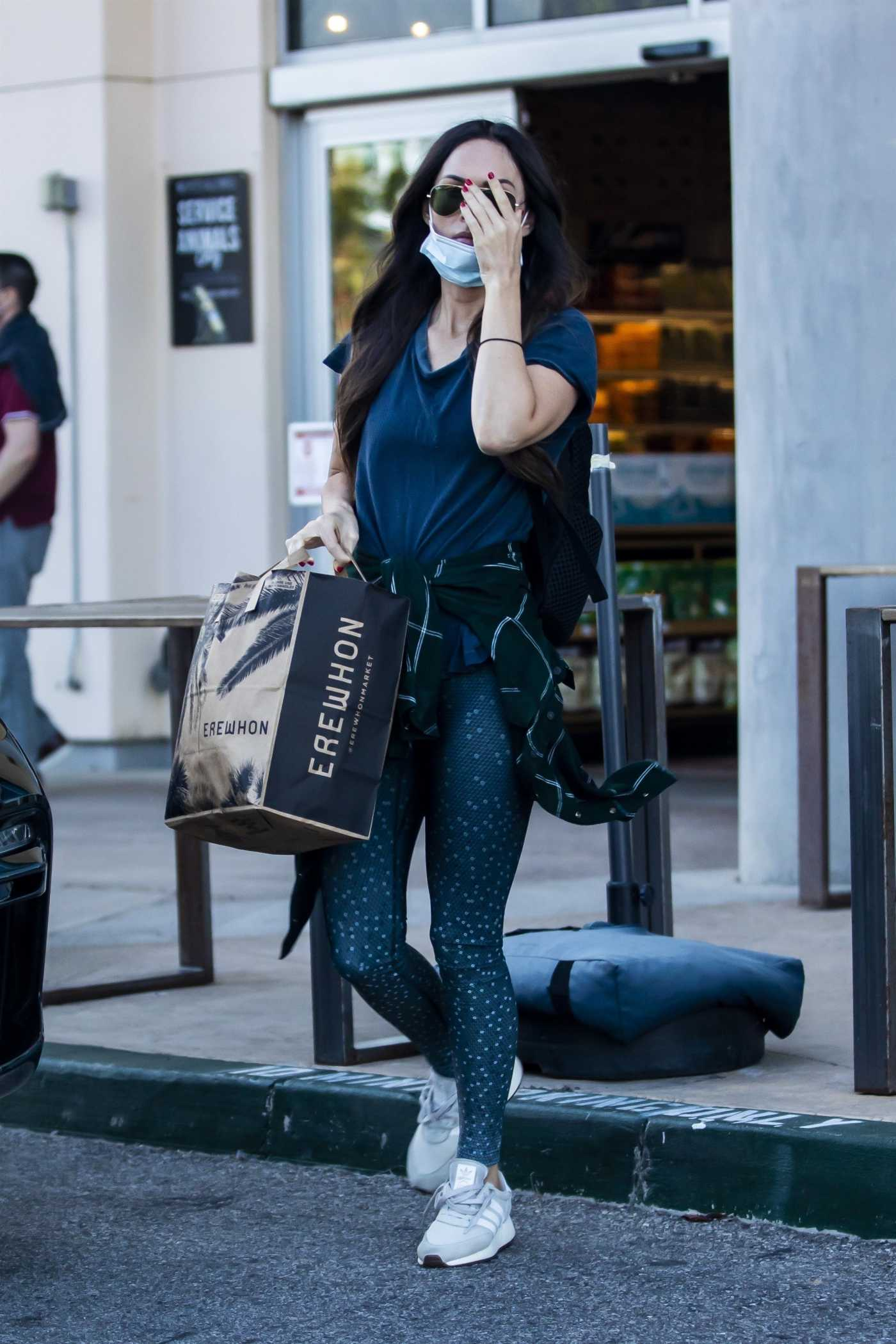 Megan Fox in a Blue Tee Leaves the Erehwon Organic Market in Calabasas 04/15/2020