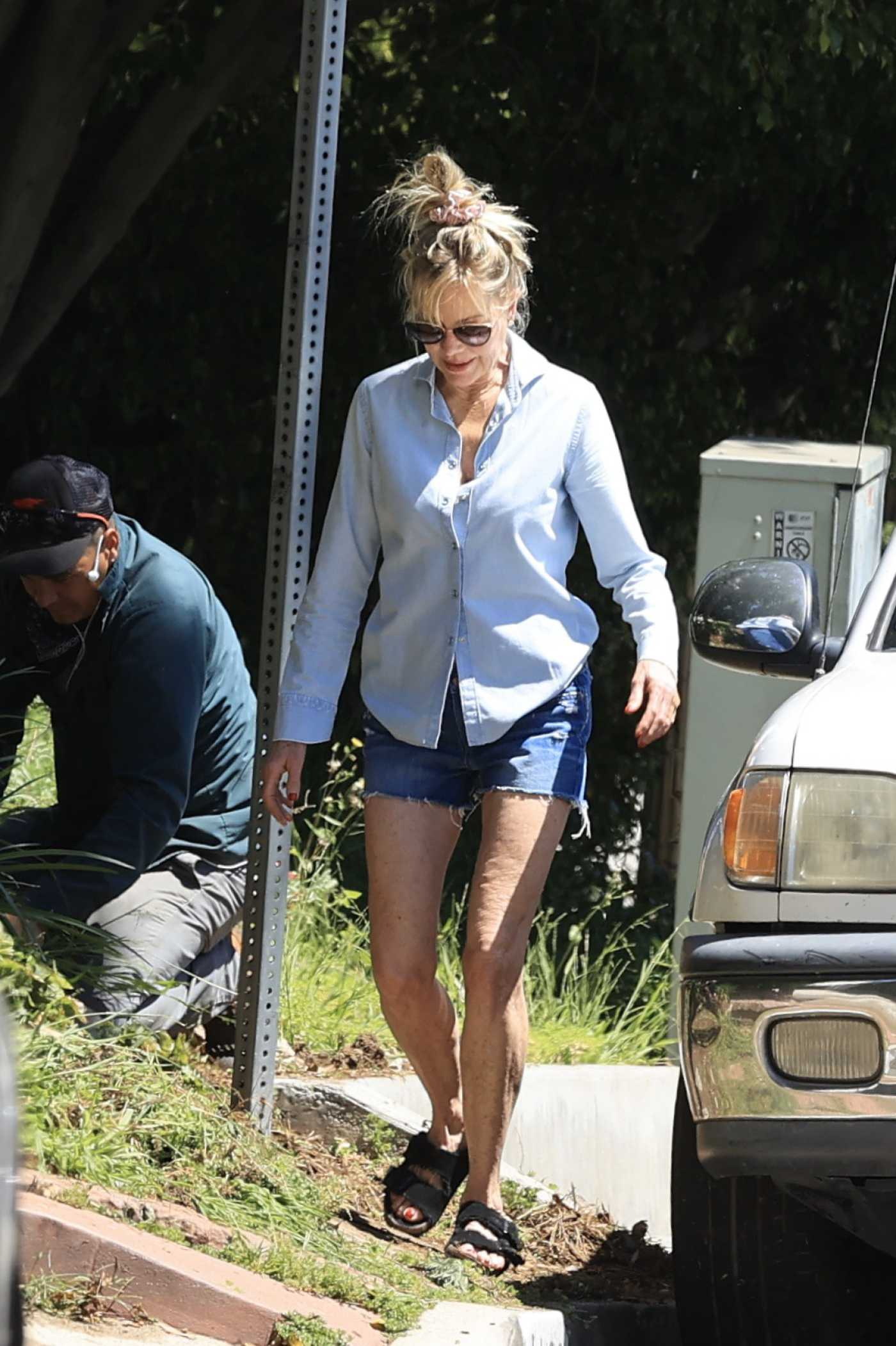Melanie Griffith in a Blue Denim Shorts Was Seen During the COVID-19 Lockdown in Los Angeles 04/25/2020