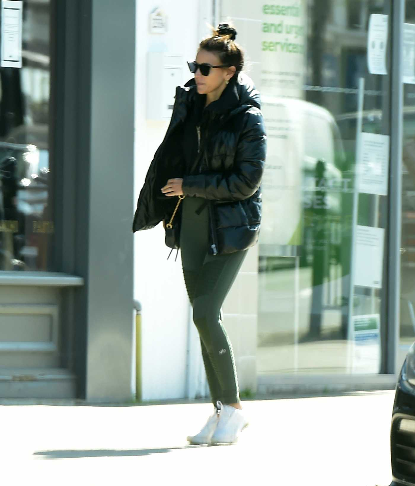 Michelle Keegan in a Black Puffer Jacket Was Seen Out in Essex 04/21/2020