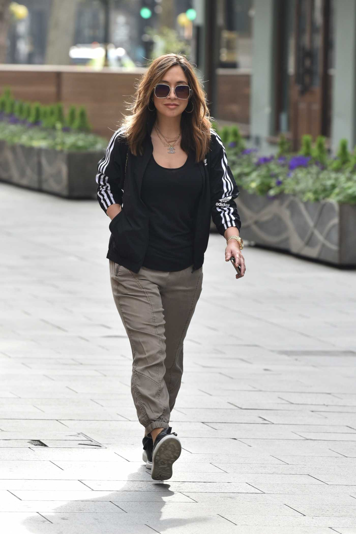 Myleene Klass in a Black Adidas Tracksuit Arrives at the Global Media Entertainment Group in London 04/08/2020